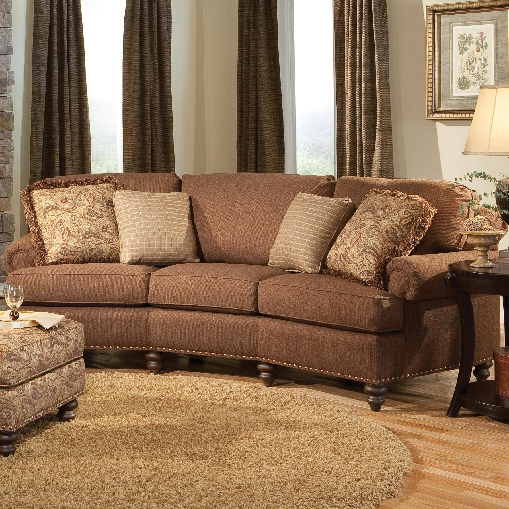Curved Conversational Sofa With Nailhead Trimsmith Brothers in Smith Brothers Sofas (Image 2 of 15)