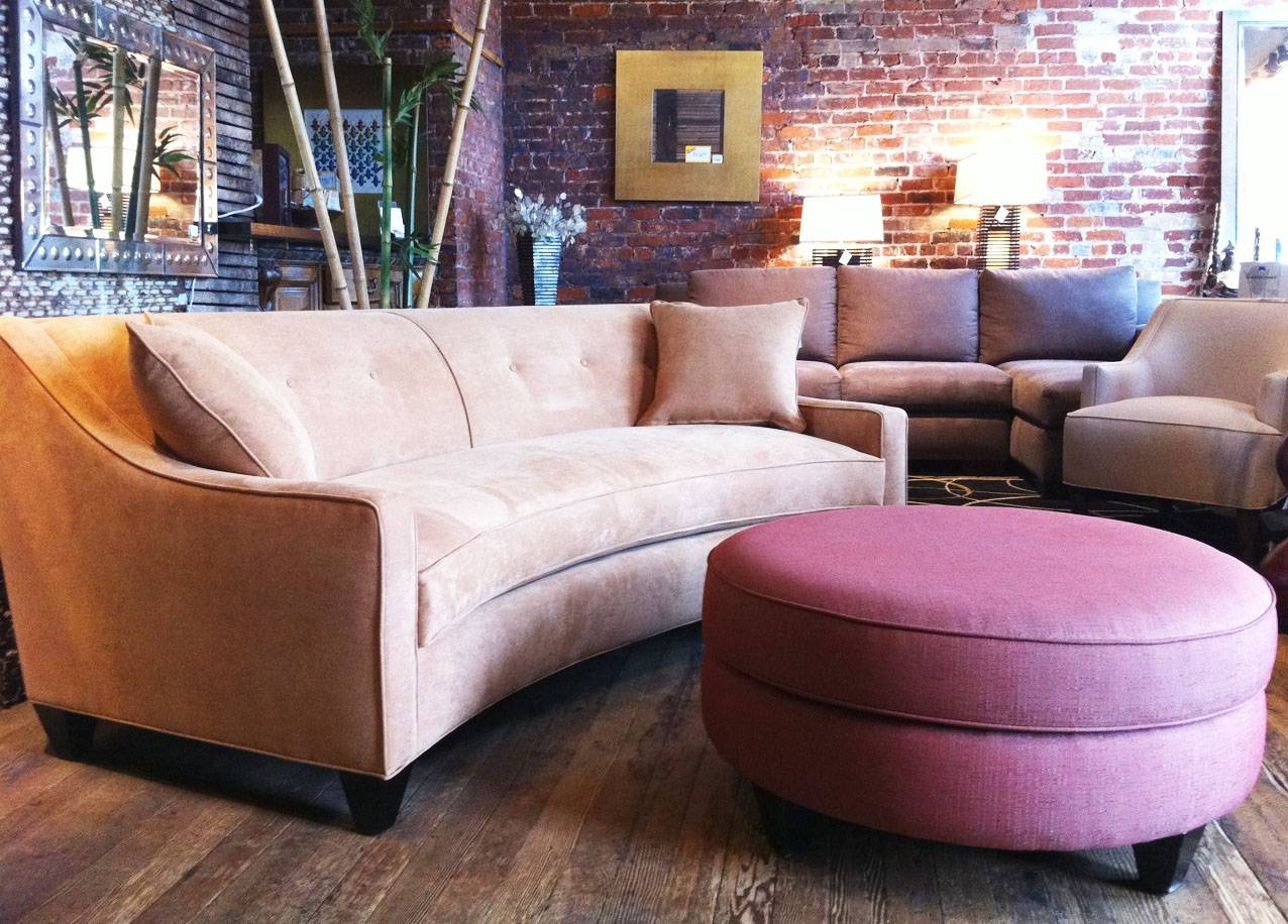 Curved Sectional Sofas For Small Spaces With Pink Ottoman Round in Small Curved Sectional Sofas (Image 3 of 15)