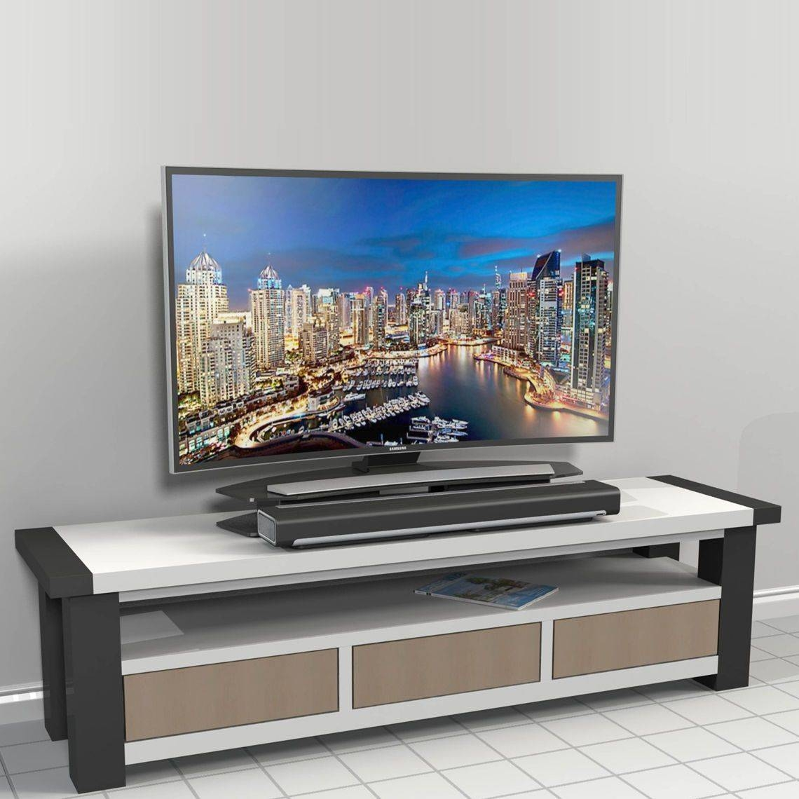 Curved Tv Riser Stand with Tv Riser Stand (Image 5 of 15)