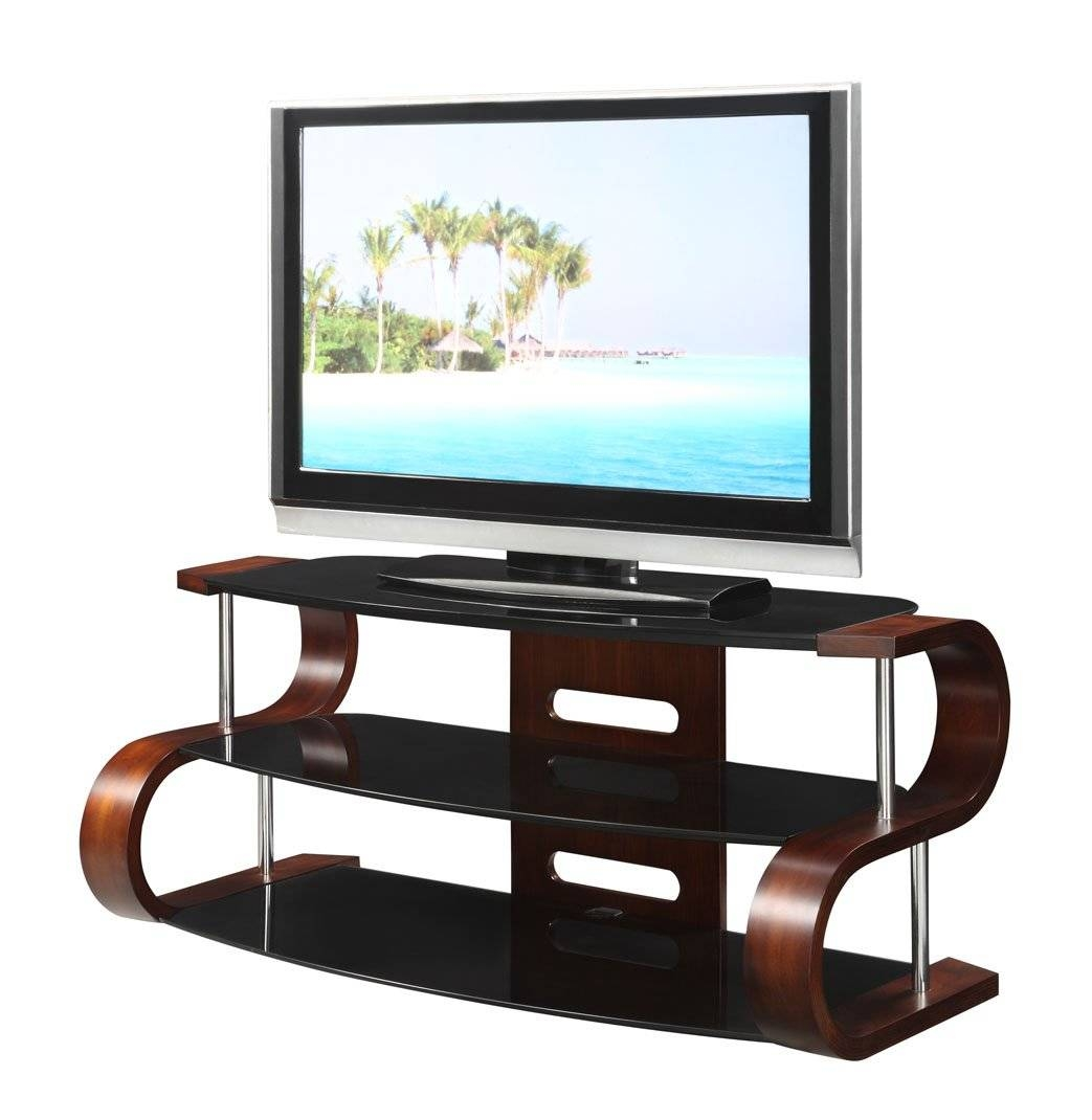 Curved Wooden Walnut Veneer Lcd Tv Stand 8642 Furniture In regarding Curve Tv Stands (Image 5 of 15)