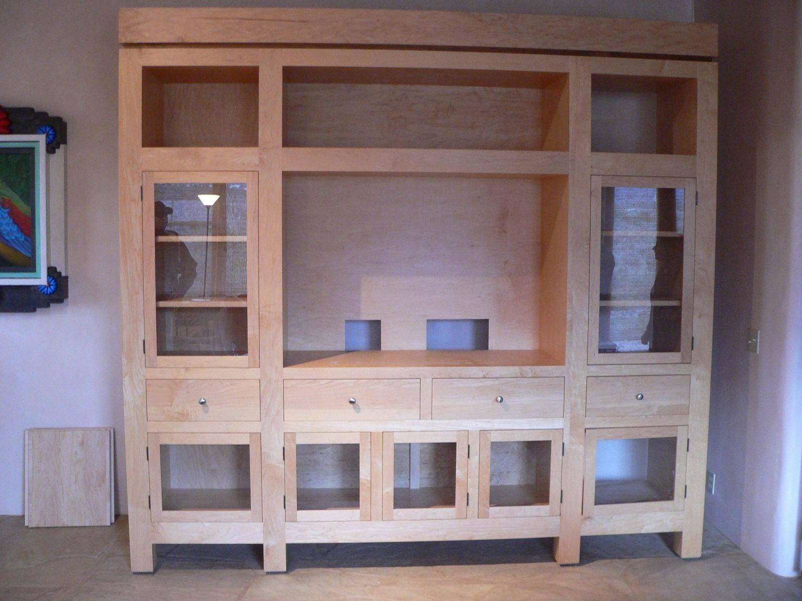 Custom Diy Unfinished Oak Tv Stand Cabinet With Glass Door Drawer Throughout Wooden Tv Stands With Glass Doors (View 15 of 15)