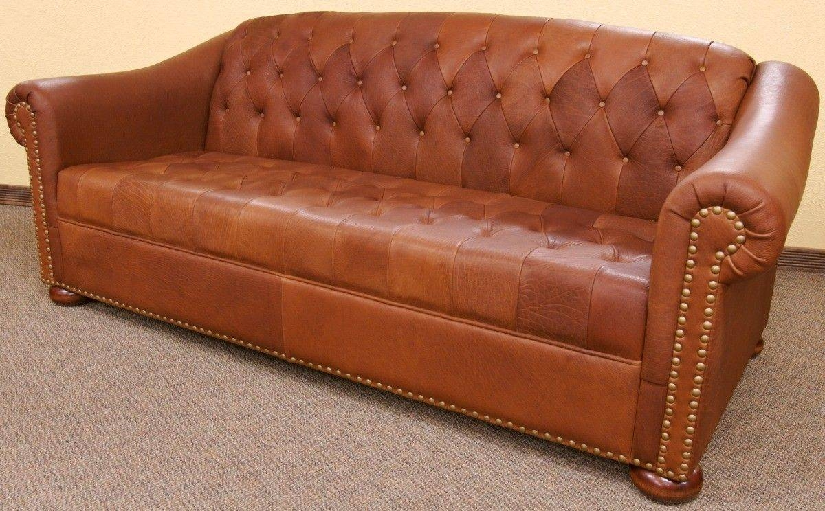 Custom Made Camel Tufted Leather Sofadakota Bison Furniture inside Carmel Leather Sofas (Image 4 of 15)