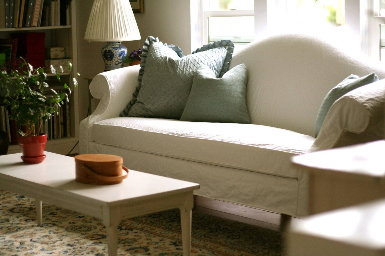 Custom Slipcoversshelley: White Camel Back Couch intended for Camelback Slipcovers (Image 6 of 15)