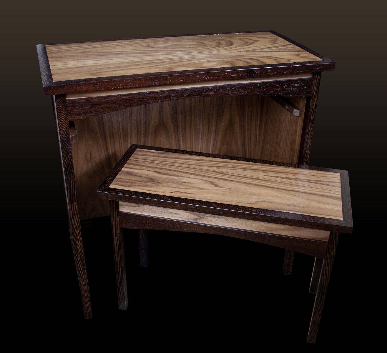 Custom Wenge & Walnut Shaker Sofa Table & Hideaway Bench Regarding Shaker Sofas (View 9 of 15)