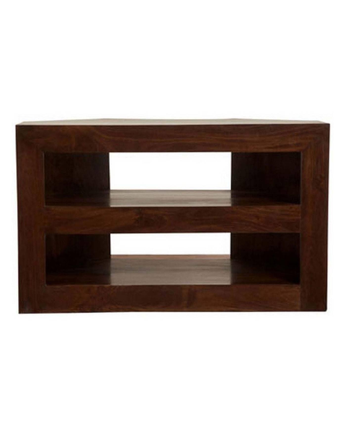Dakota Corner Tv Unit Dark Shade - Homescapes intended for Wood Corner Tv Cabinets (Image 4 of 15)