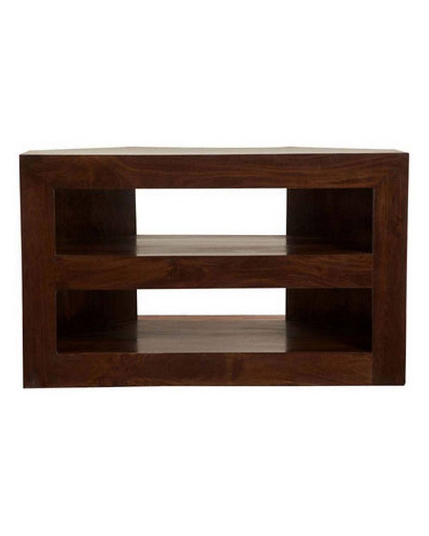 Dakota Corner Tv Unit Dark Shade – Homescapes Throughout Wooden Corner Tv Units (View 14 of 15)