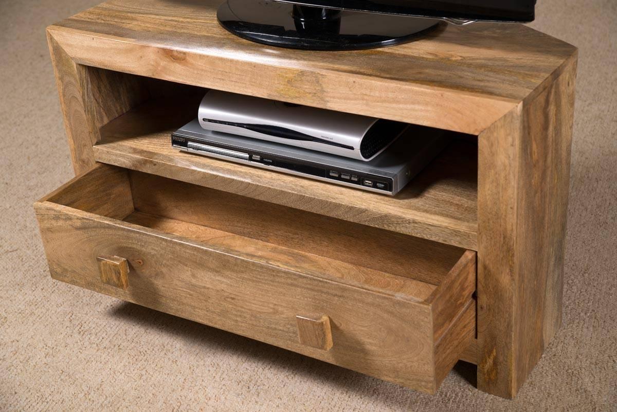 Dakota Light Mango Small Corner Tv Stand | Casa Bella Furniture Uk in Mango Wood Tv Cabinets (Image 5 of 15)