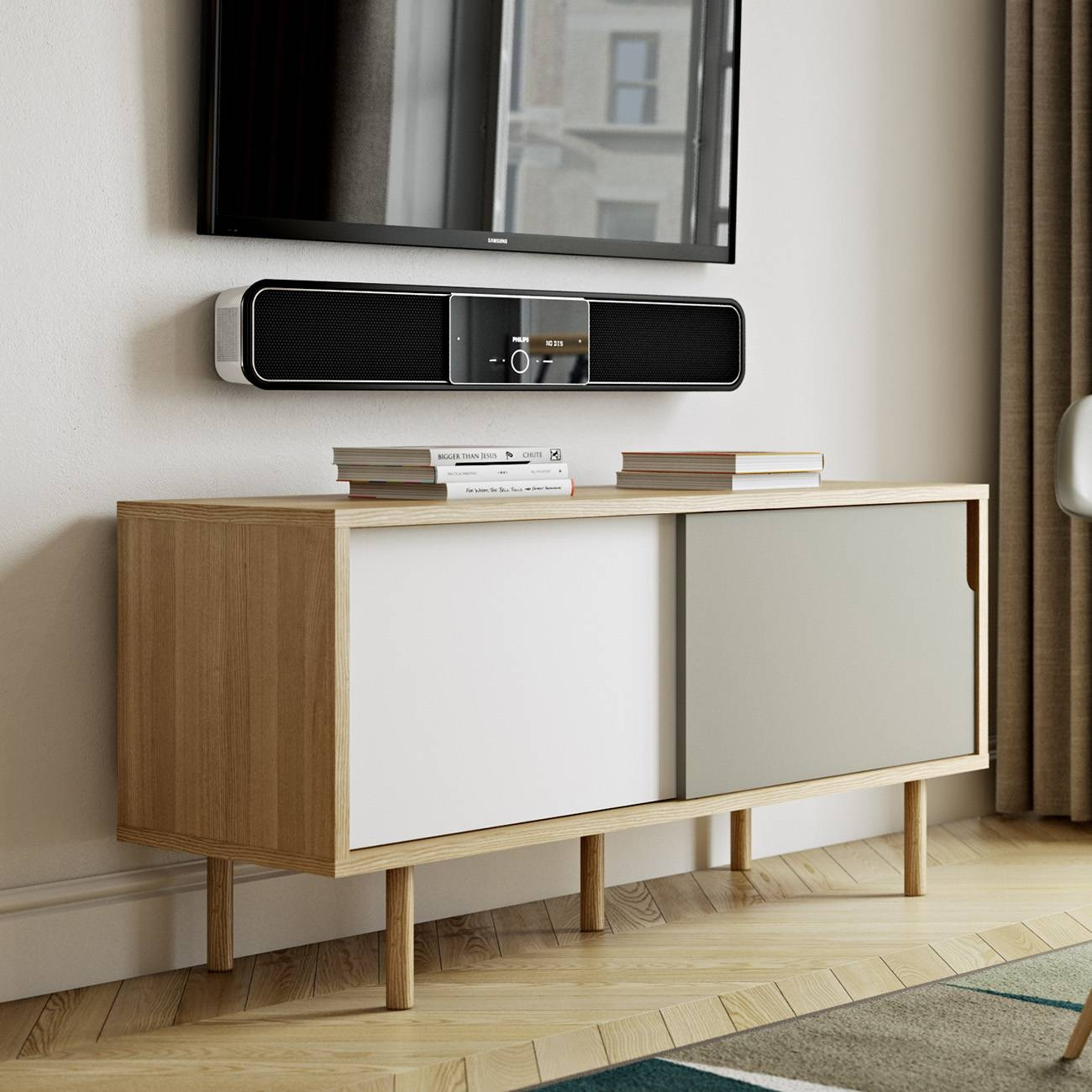 Dann Tv Stand | Oak / Pure White / Grey, Tema Home - Modern Manhattan with White And Wood Tv Stands (Image 4 of 15)