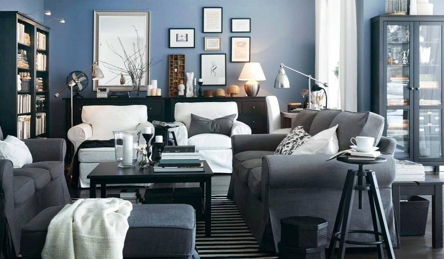 Dark Blue Grey Walls Living Room | Centerfieldbar with Blue Grey Sofas (Image 5 of 15)