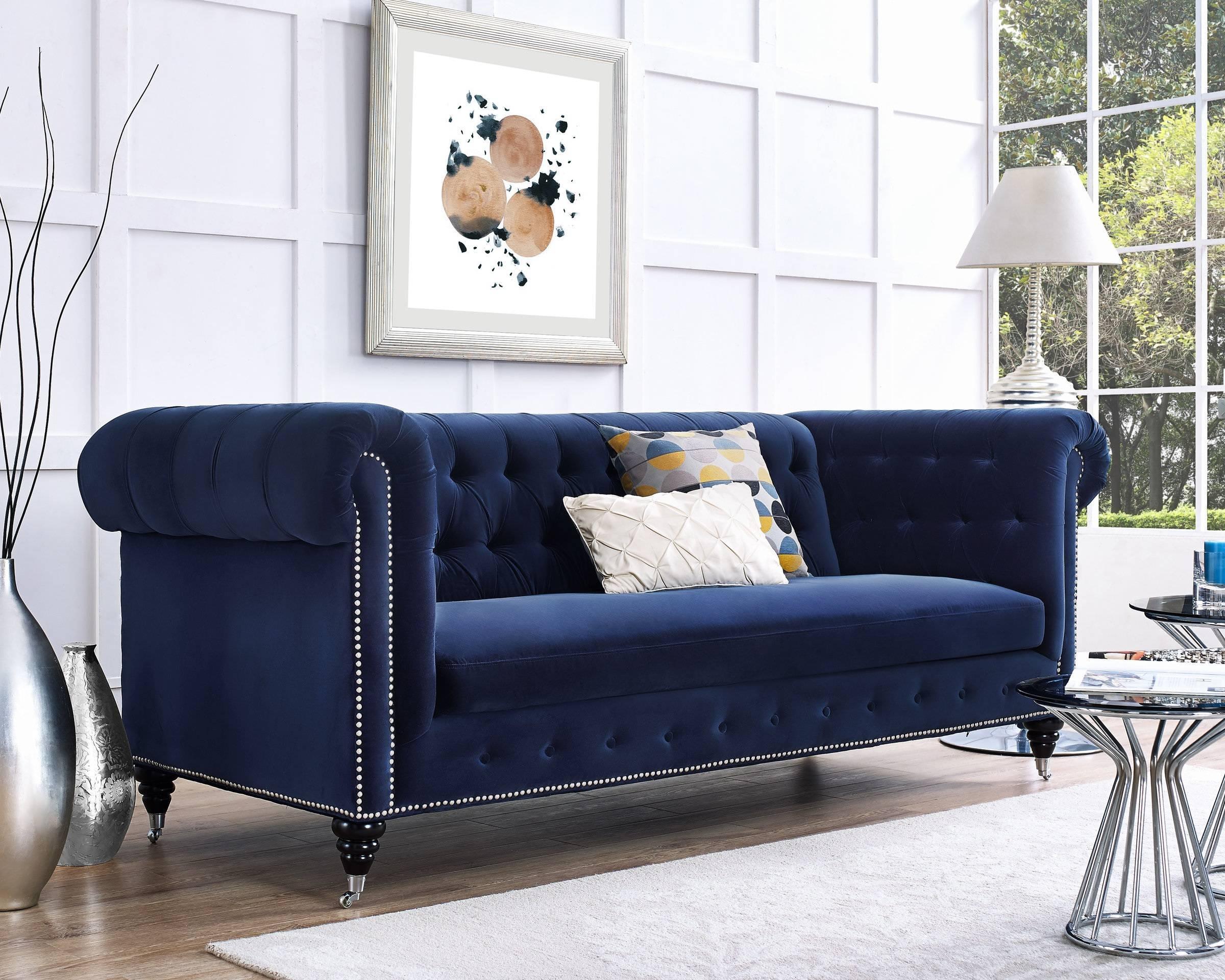 Dark Blue Velvet Chesterfield Tufted Sofa Regarding Blue Velvet Tufted Sofas (Photo 2 of 15)