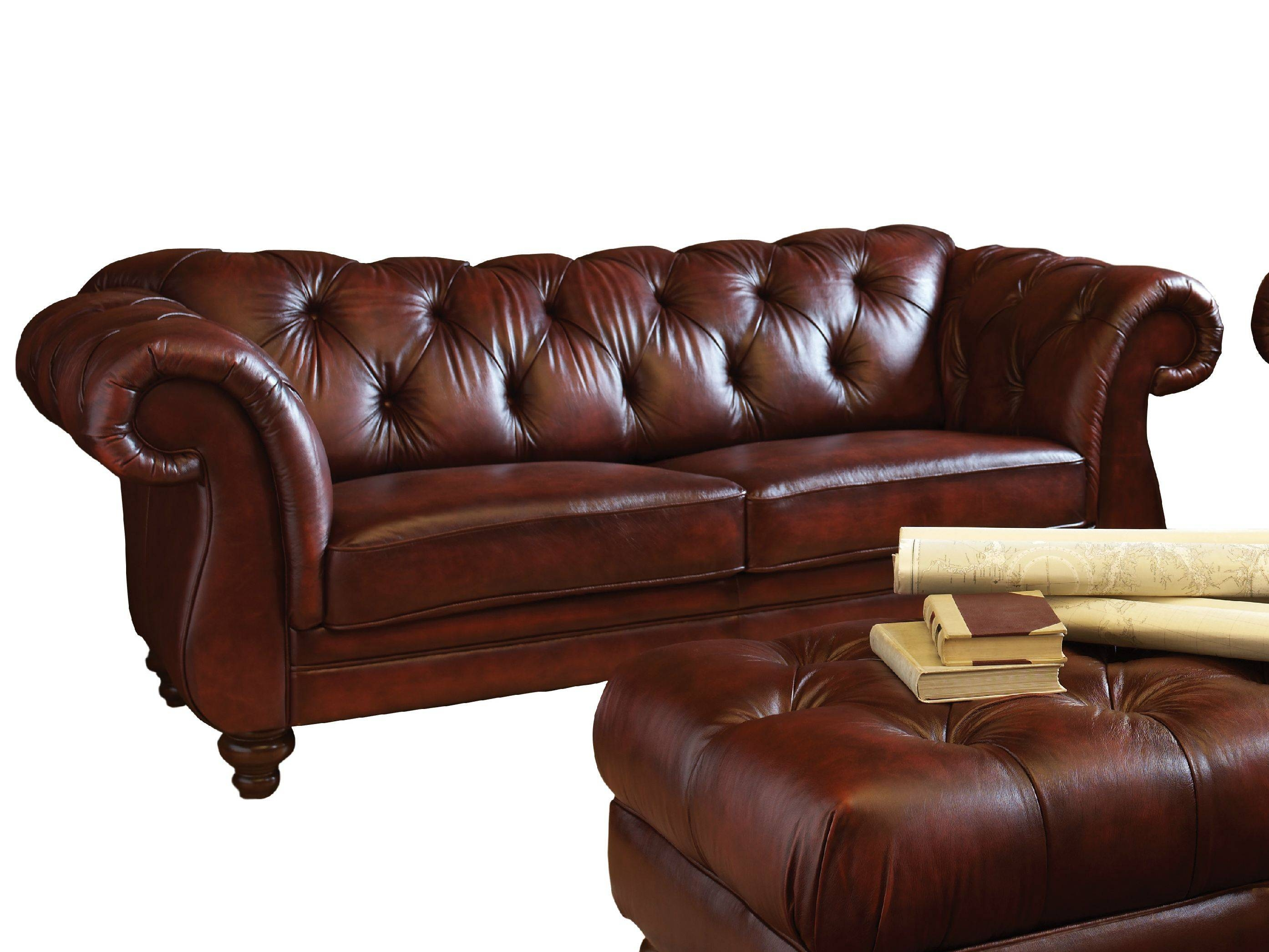 Dark Brown Color Modern Two Seater Leather Tufted Sofa With for Brown Leather Tufted Sofas (Image 4 of 15)