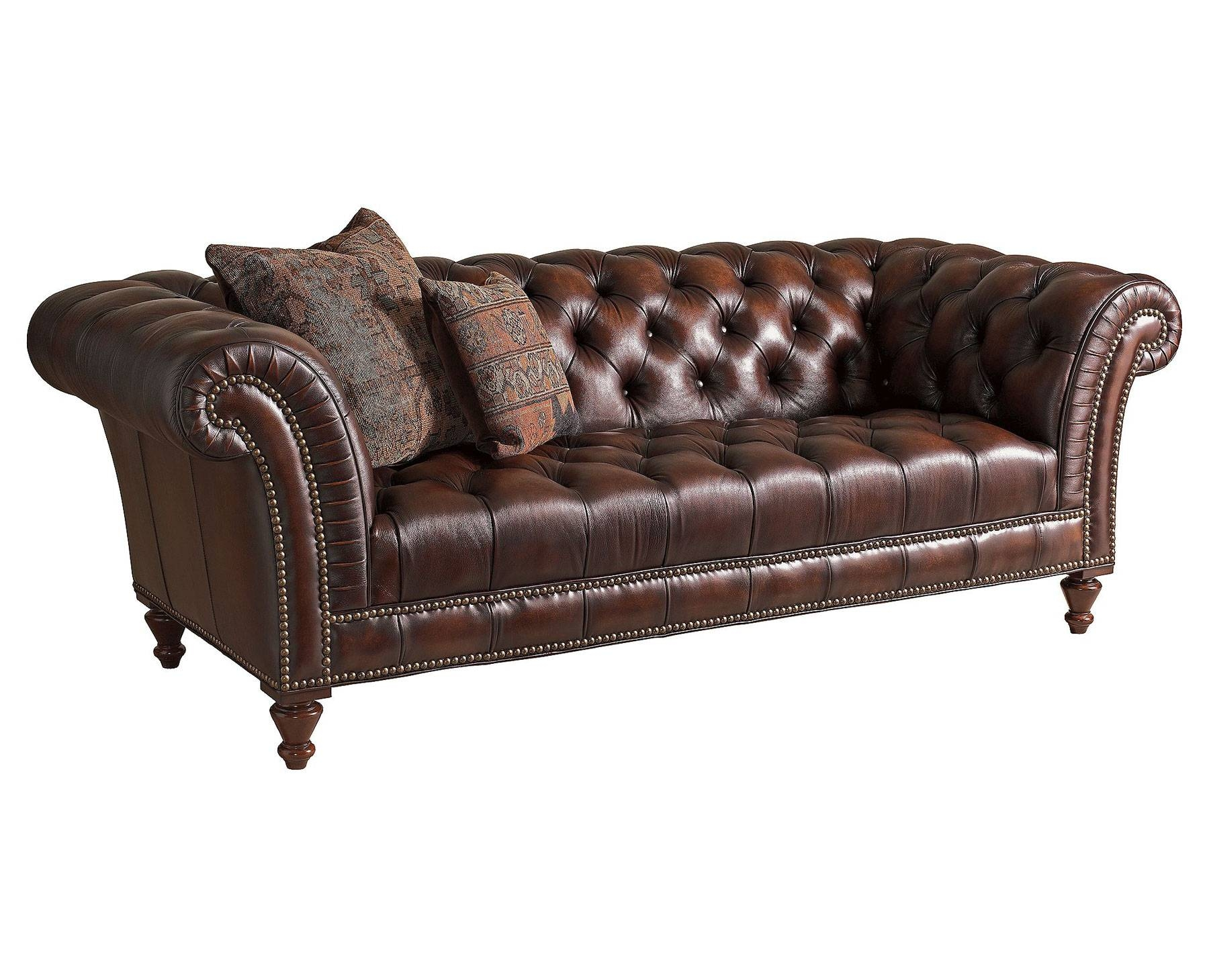 Dark Brown Modern Tufted Leather Sofa Set With Wooden Legs Pillow within Brown Leather Tufted Sofas (Image 5 of 15)