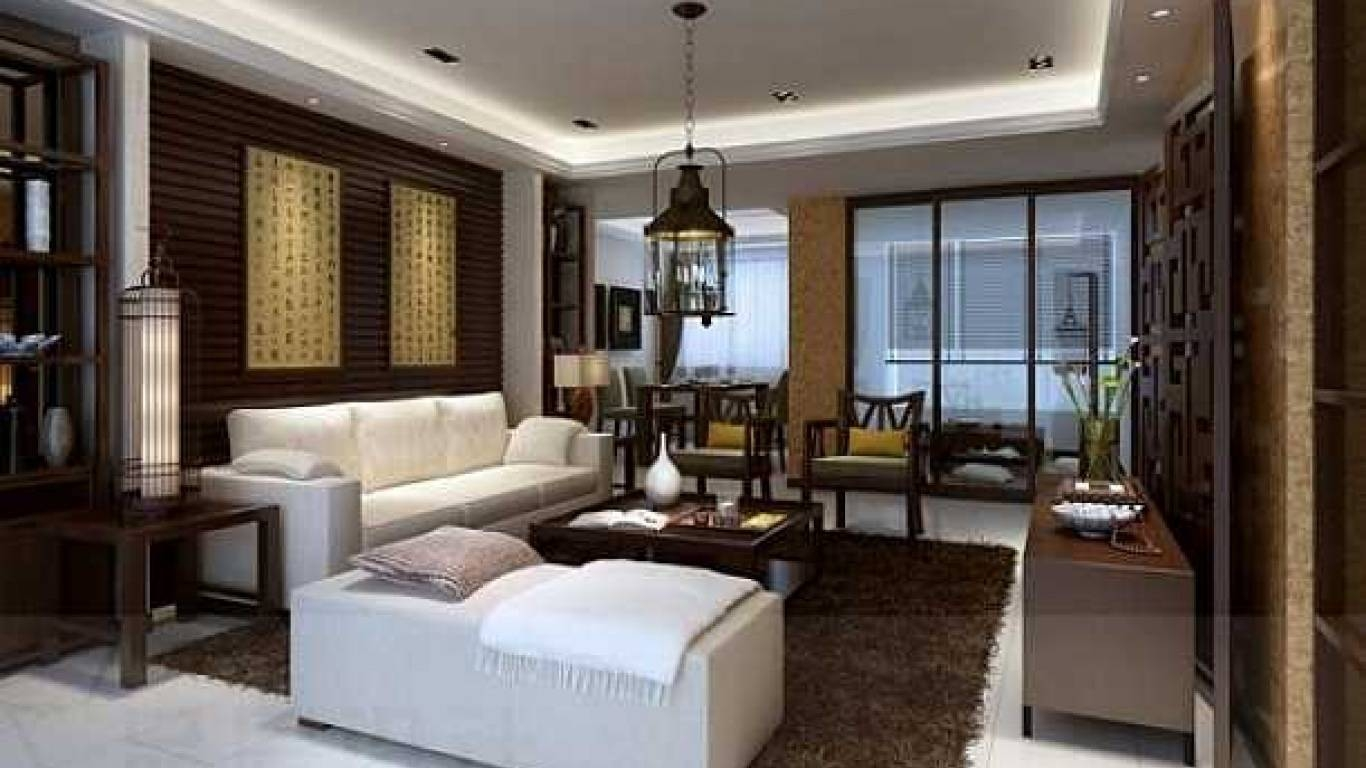 Dark Brown Nuance Of The Living Room Interior Of The Asian Home in Asian Sofas (Image 6 of 15)