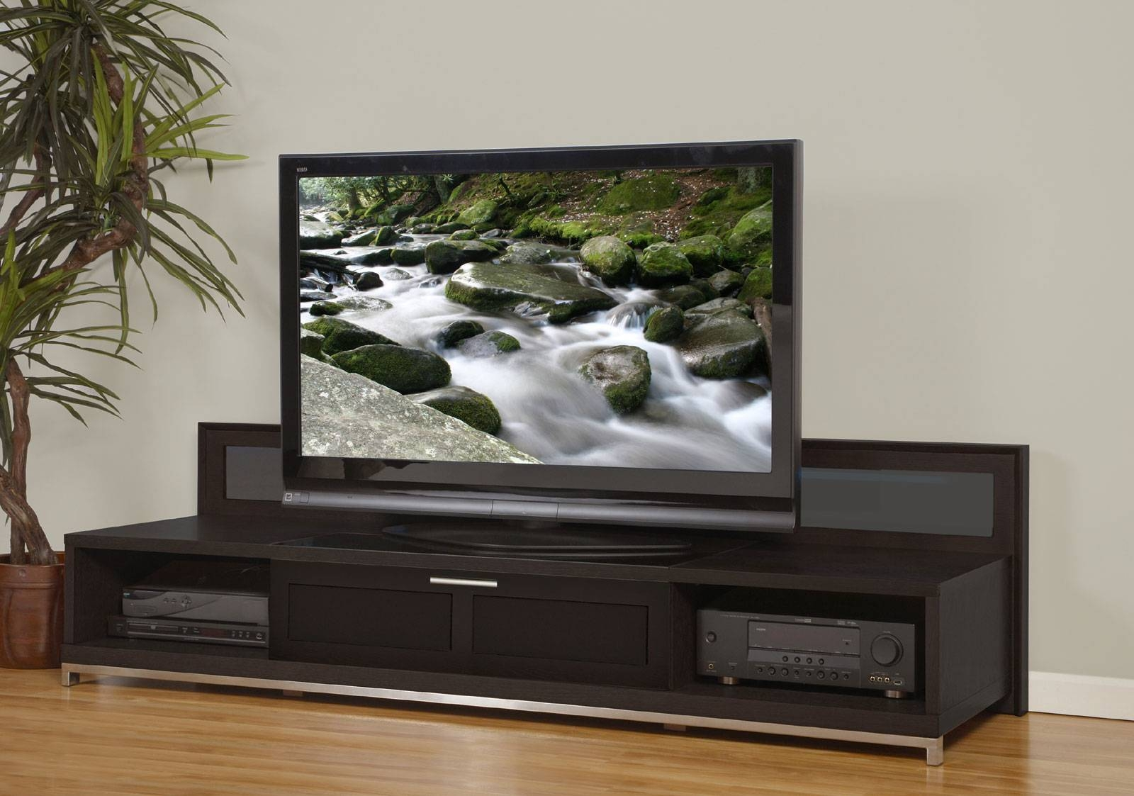 Dark Brown Stained Mahogany Wood Low Tv Stand With Cast Iron in Wooden Tv Stands For Flat Screens (Image 2 of 15)