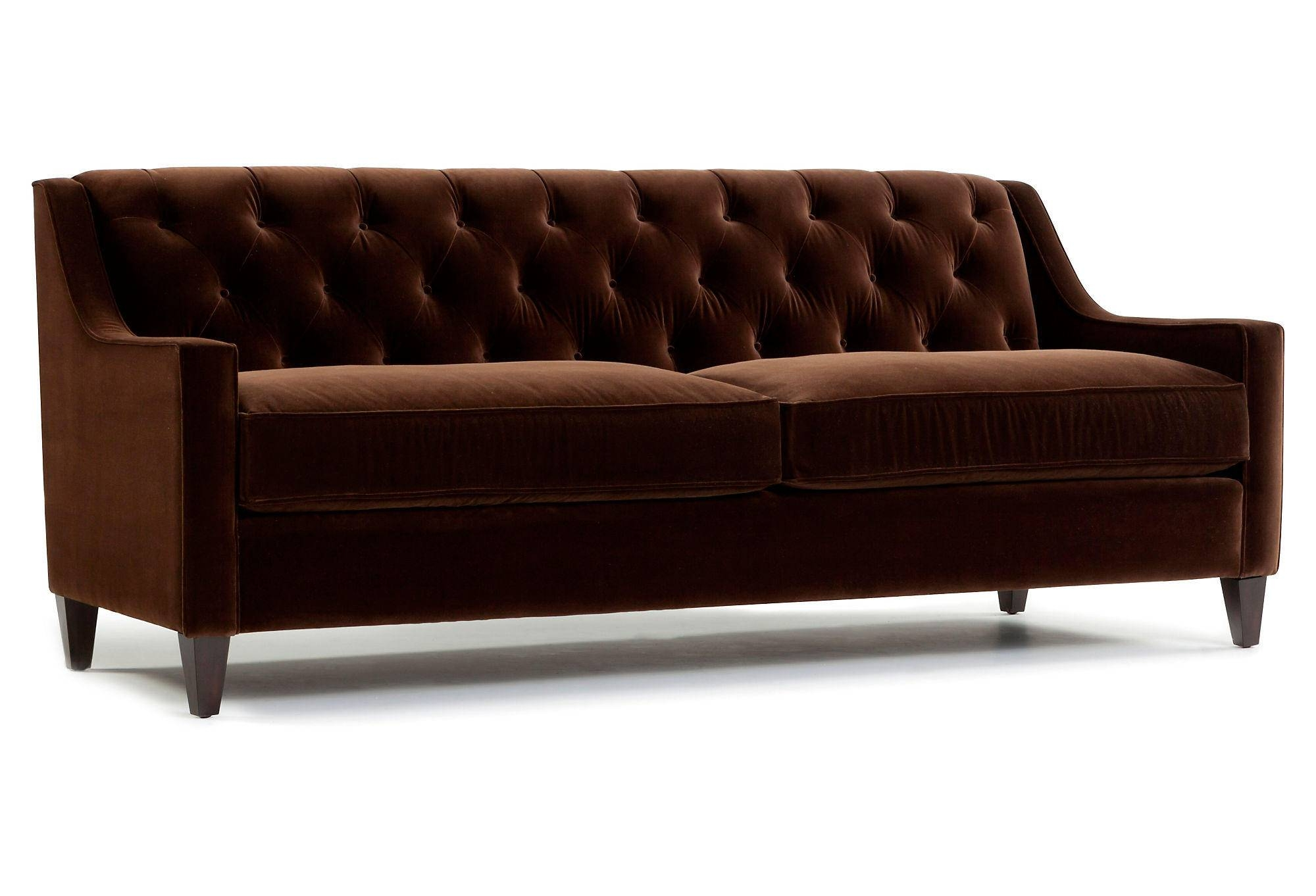 Dark Brown Velvet Tufted Sofa With Wooden Legs And 2 Cushions For with Brown Tufted Sofas (Image 7 of 15)
