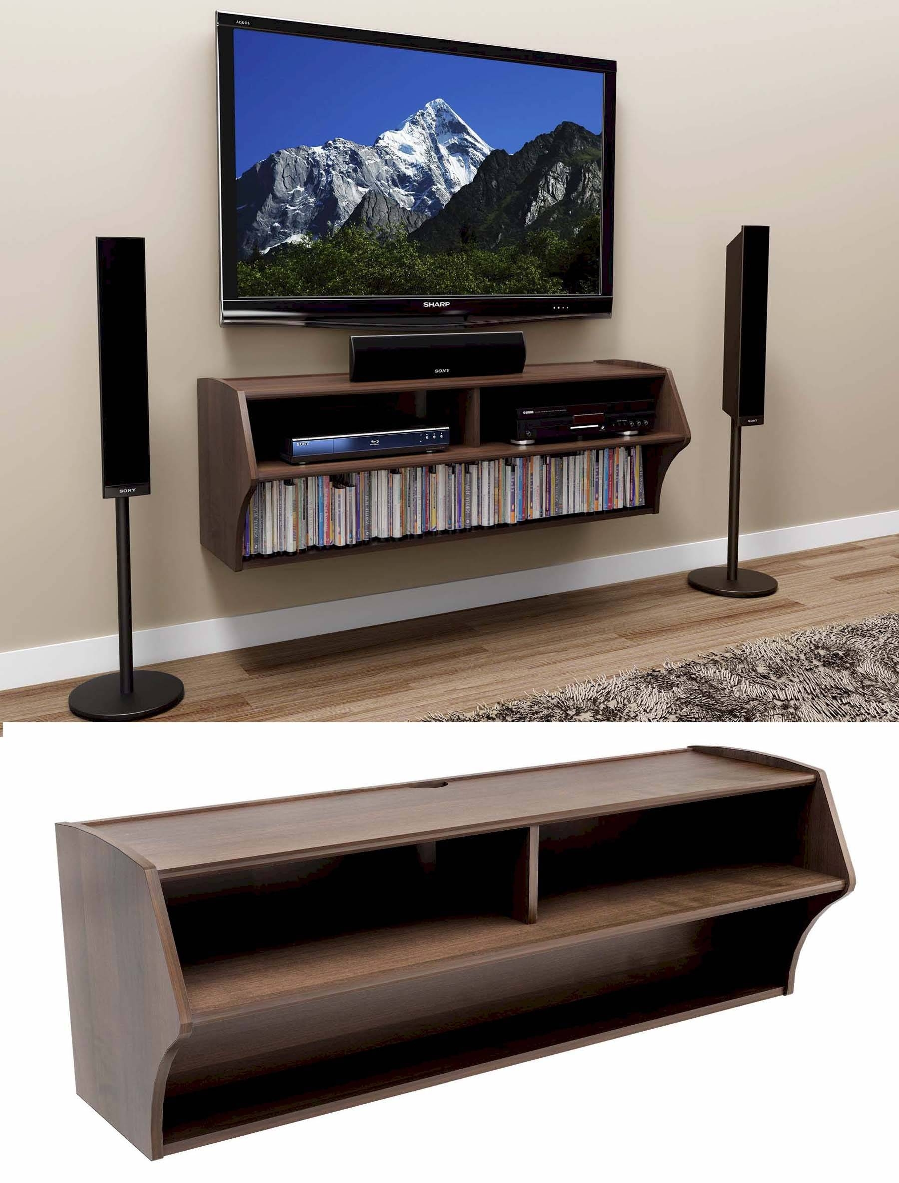 Dark Brown Wood Venner Wall Mounted Tv Stand With Open Shelves And Inside Open Shelf Tv Stands (View 8 of 15)