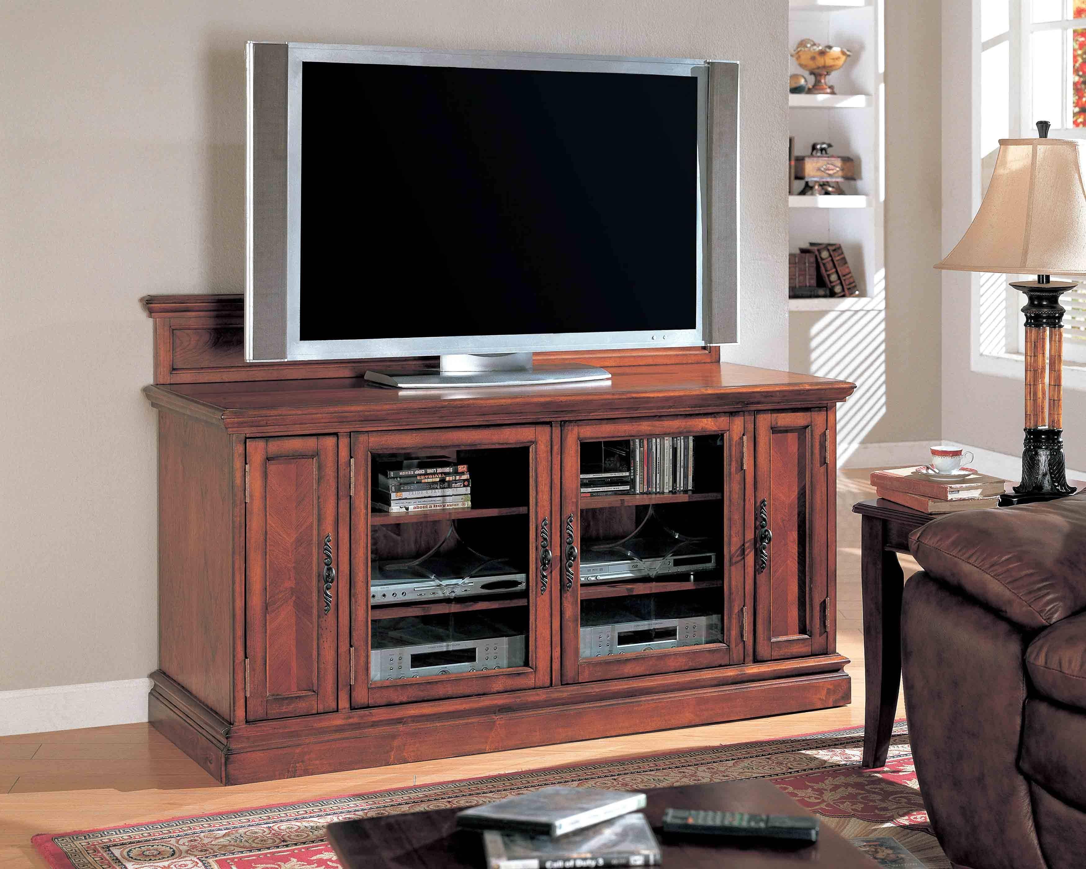 Dark Brown Wooden Tv Cabinet With Glass Doors On The Floor Throughout Wooden Tv Cabinets With Glass Doors (View 14 of 15)