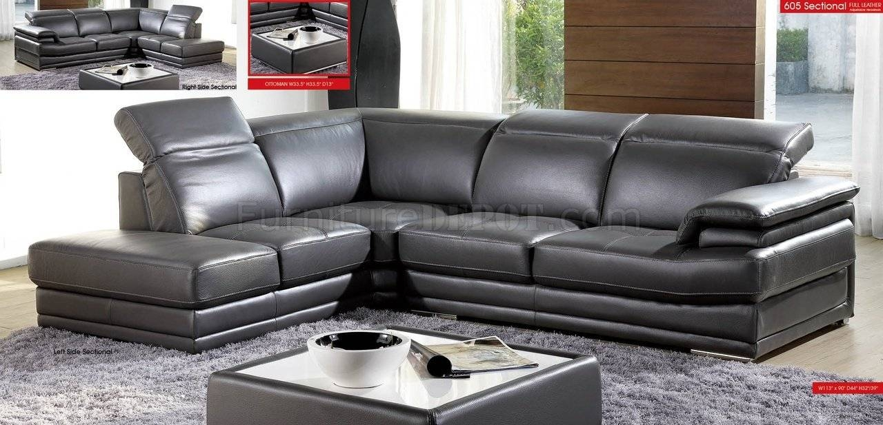Dark Grey Full Genuine Italian Leather Modern Sectional Sofa intended for Charcoal Grey Leather Sofas (Image 4 of 15)