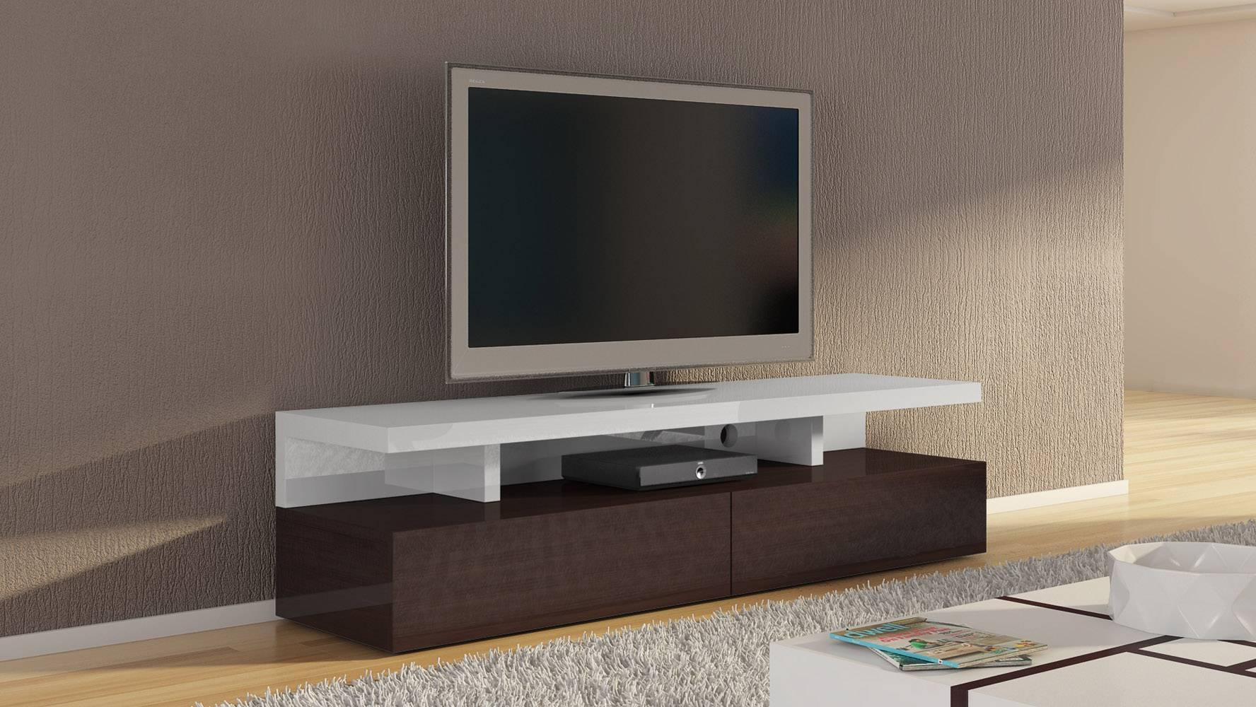 Dark Wood And White High Gloss Lacquer Mcintosh 71 Inch Tv Stand regarding Dark Wood Tv Stands (Image 7 of 15)