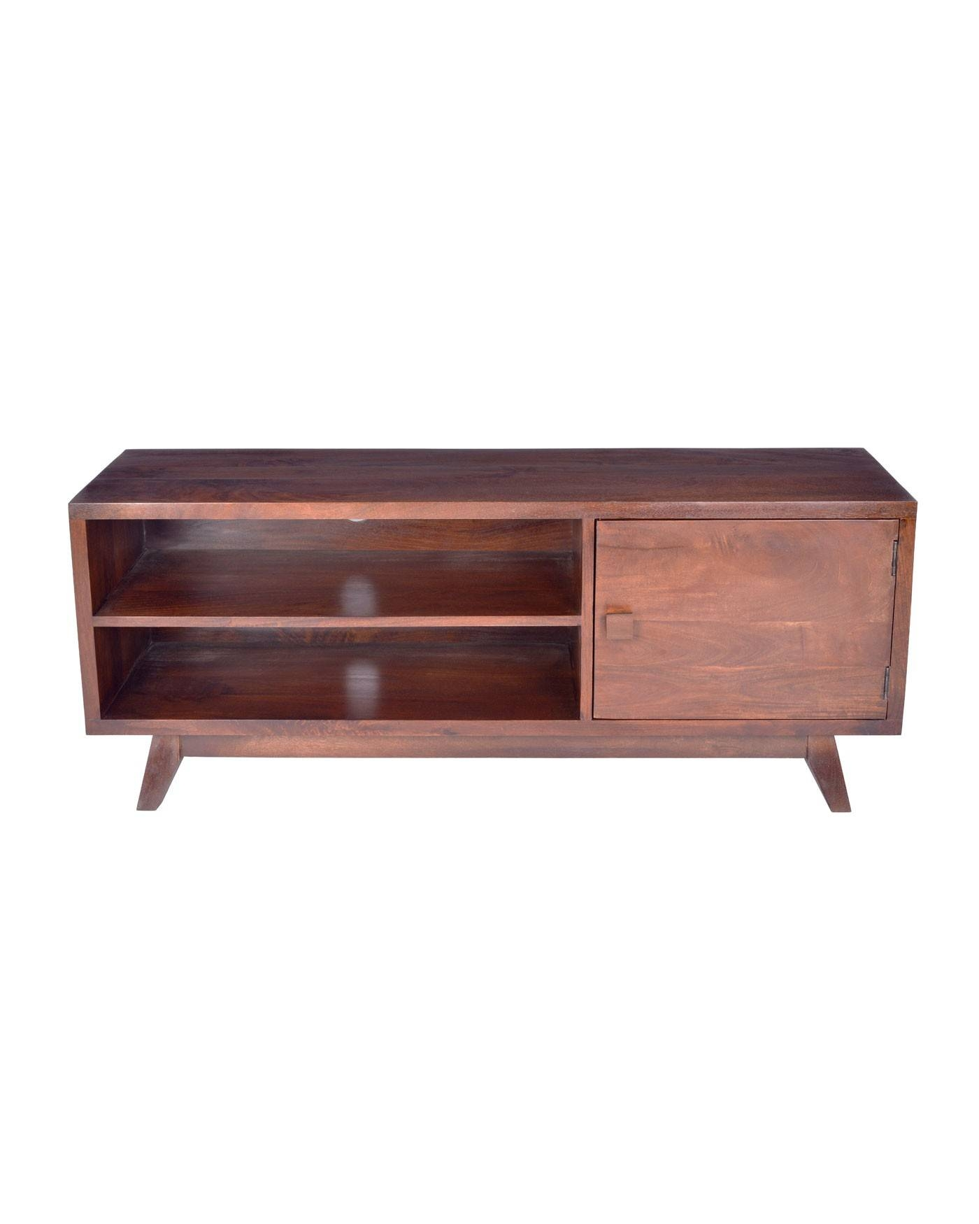 Dark Wood Tv Stand With Shelf Retro Design 100% Solid Wood intended for Dark Wood Tv Stands (Image 8 of 15)