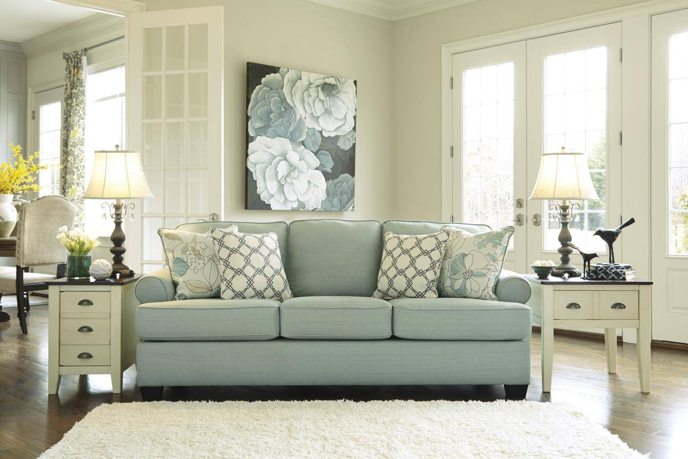 Daystar Seafoam Green Fabric Sofa - Steal-A-Sofa Furniture Outlet for Seafoam Green Sofas (Image 8 of 15)
