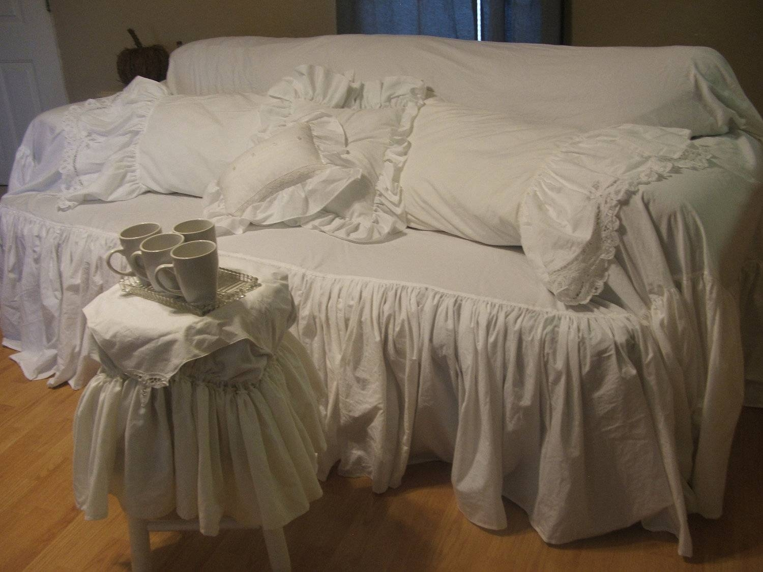 Decor: Lovely Shabby Chic Slipcovers For Enchanting Furniture Within Shabby Chic Sofa Slipcovers (View 4 of 15)