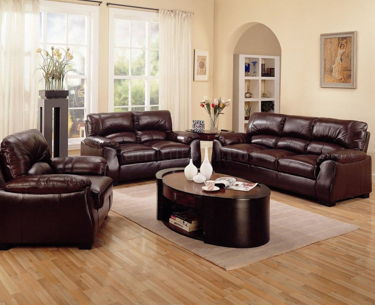 Decorate Living Room Brown Leather Sofa | Centerfieldbar regarding Living Room With Brown Sofas (Image 6 of 15)