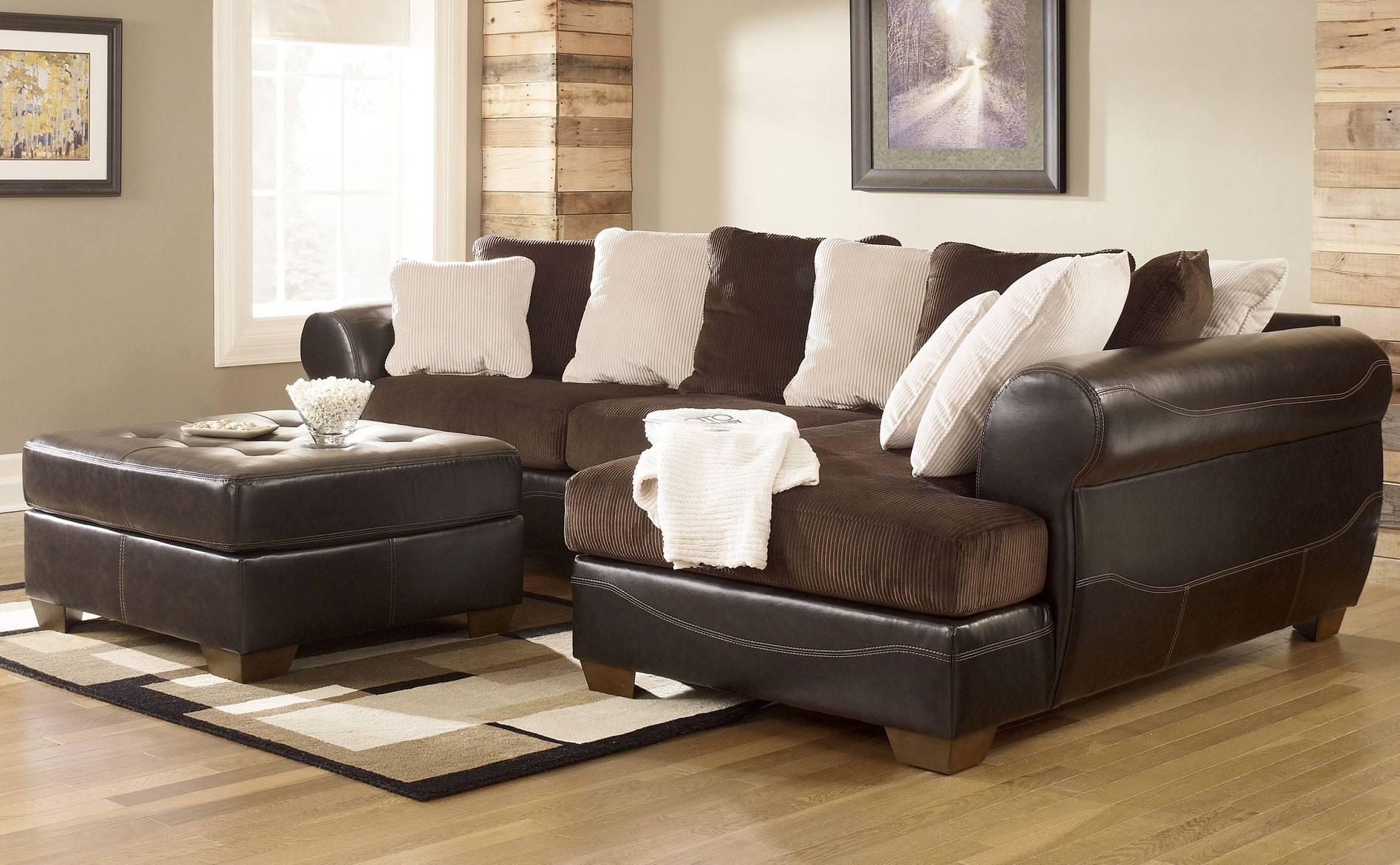 Decorating: Black Leather Ashley Furniture Sectional Sofa With Intended For Ashley  Furniture Corduroy Sectional Sofas