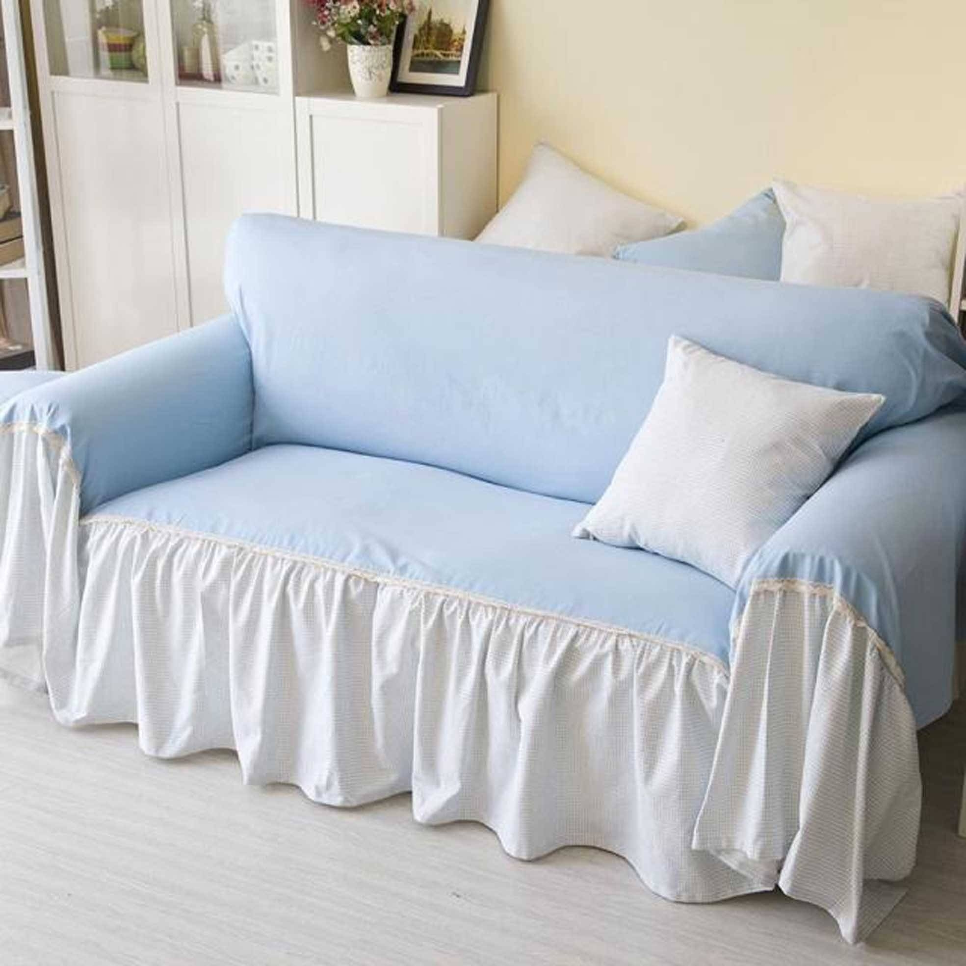 Decorations: Comfort White Loveseat Slipcover — Iahrapd2016 pertaining to Navy Blue Slipcovers (Image 1 of 15)