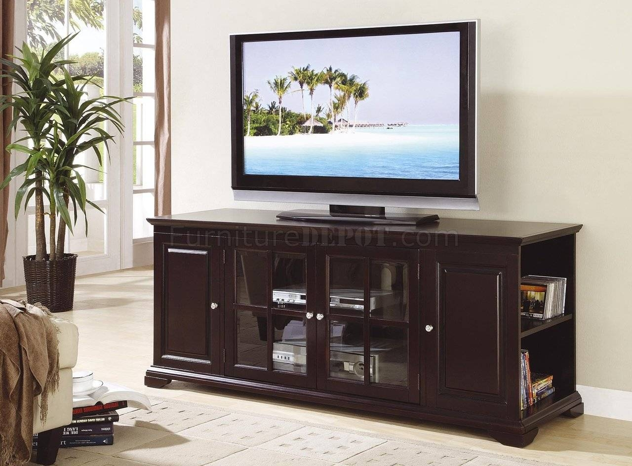 Deep Rich Espresso Finish Classic Tv Stand W/open Side Storage with Classic Tv Stands (Image 7 of 15)