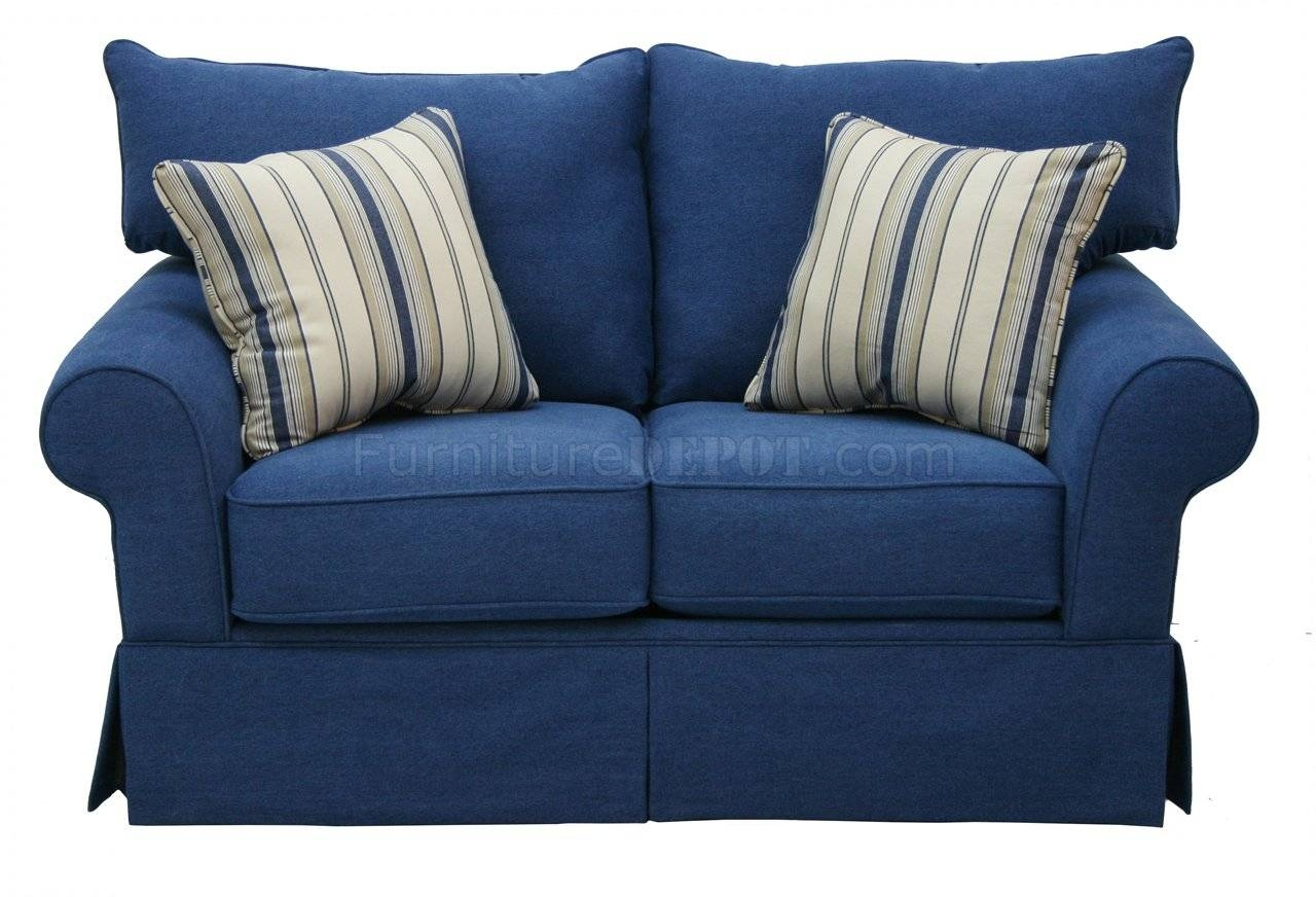 Denim Fabric Modern Sofa & Loveseat Set W/options for Blue Jean Sofas (Image 5 of 15)