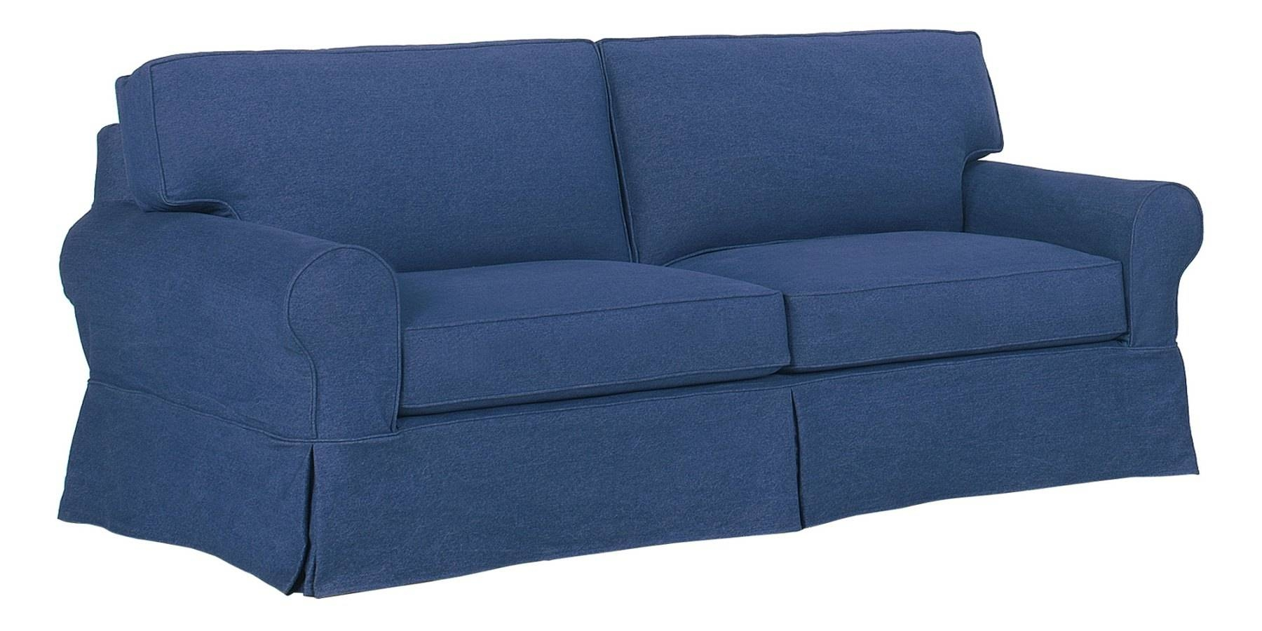 Denim Slipcovered Sofa With Chaise & Ottoman | Club Furniture with Denim Sofas and Loveseats (Image 5 of 15)
