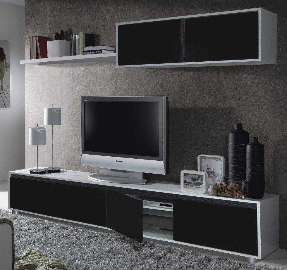Details About Tv Unit Living Room Gallery And White Gloss Wall throughout Black Gloss Tv Wall Unit (Image 2 of 15)