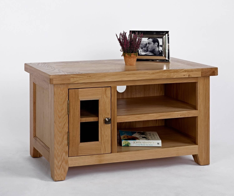 Devon Oak Small Tv Unit | Oak Furniture Solutions in Small Oak Tv Cabinets (Image 2 of 15)