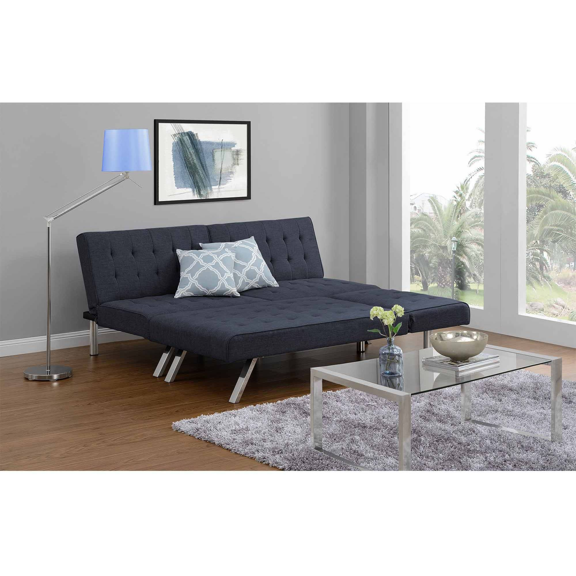 Dhp Emily Convertible Linen Futon In Gray - Walmart for Emily Sofas (Image 10 of 15)