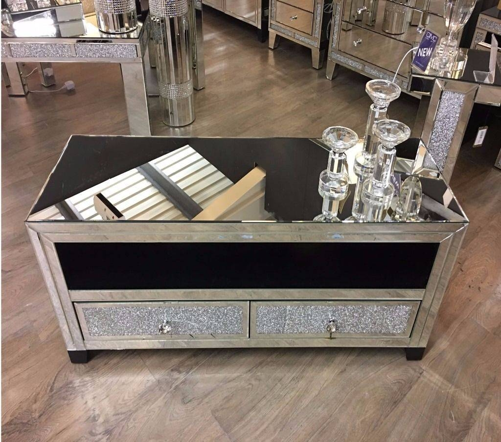 Diamond Crush Mirrored Tv Stand / Entertainment Unit | In in Mirrored Tv Stands (Image 2 of 15)