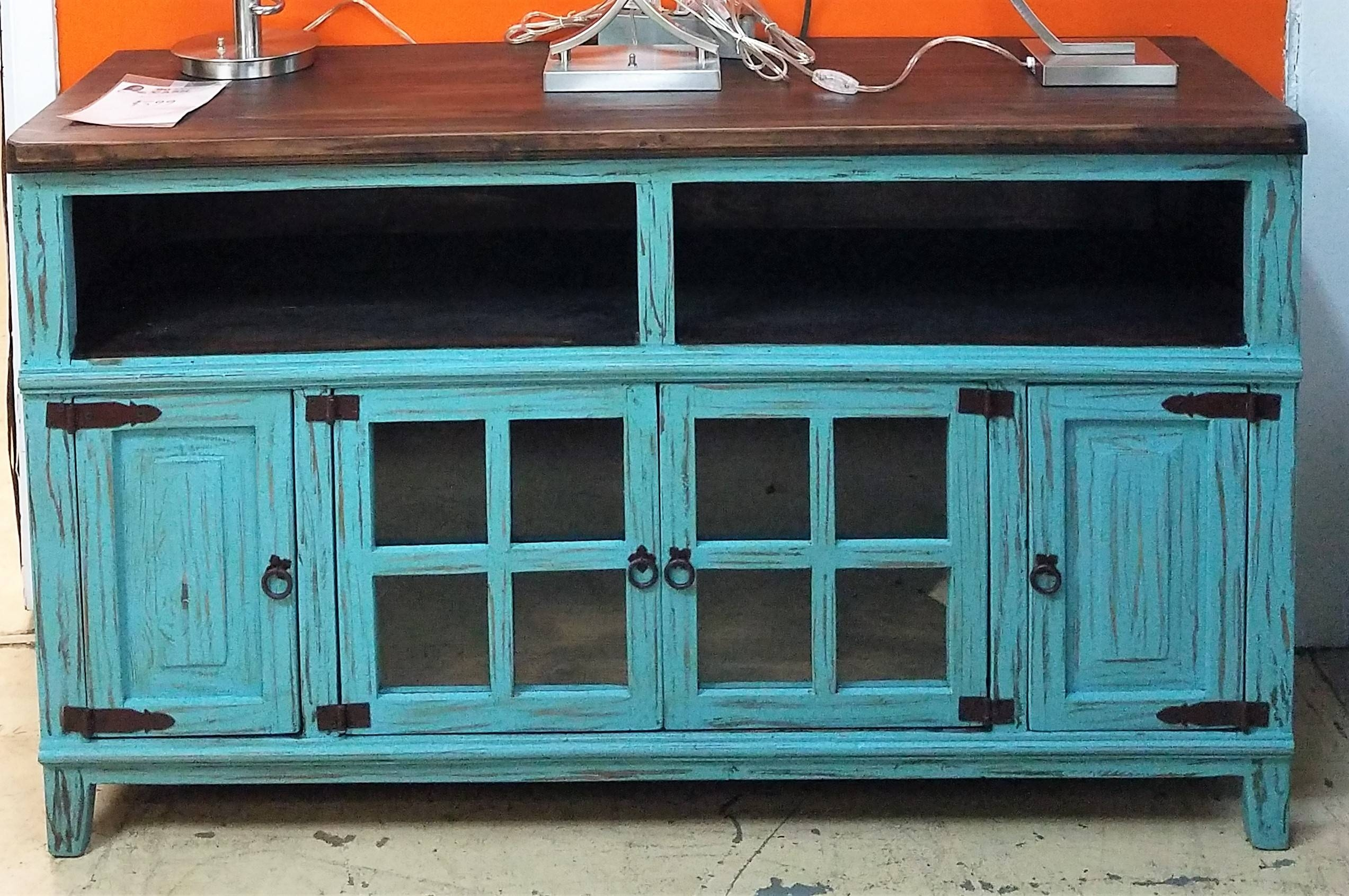 """Distressed Rustic 60"""" Turquoise Tv Stand (special Of The Month) Within Rustic Tv Stands (View 14 of 15)"""