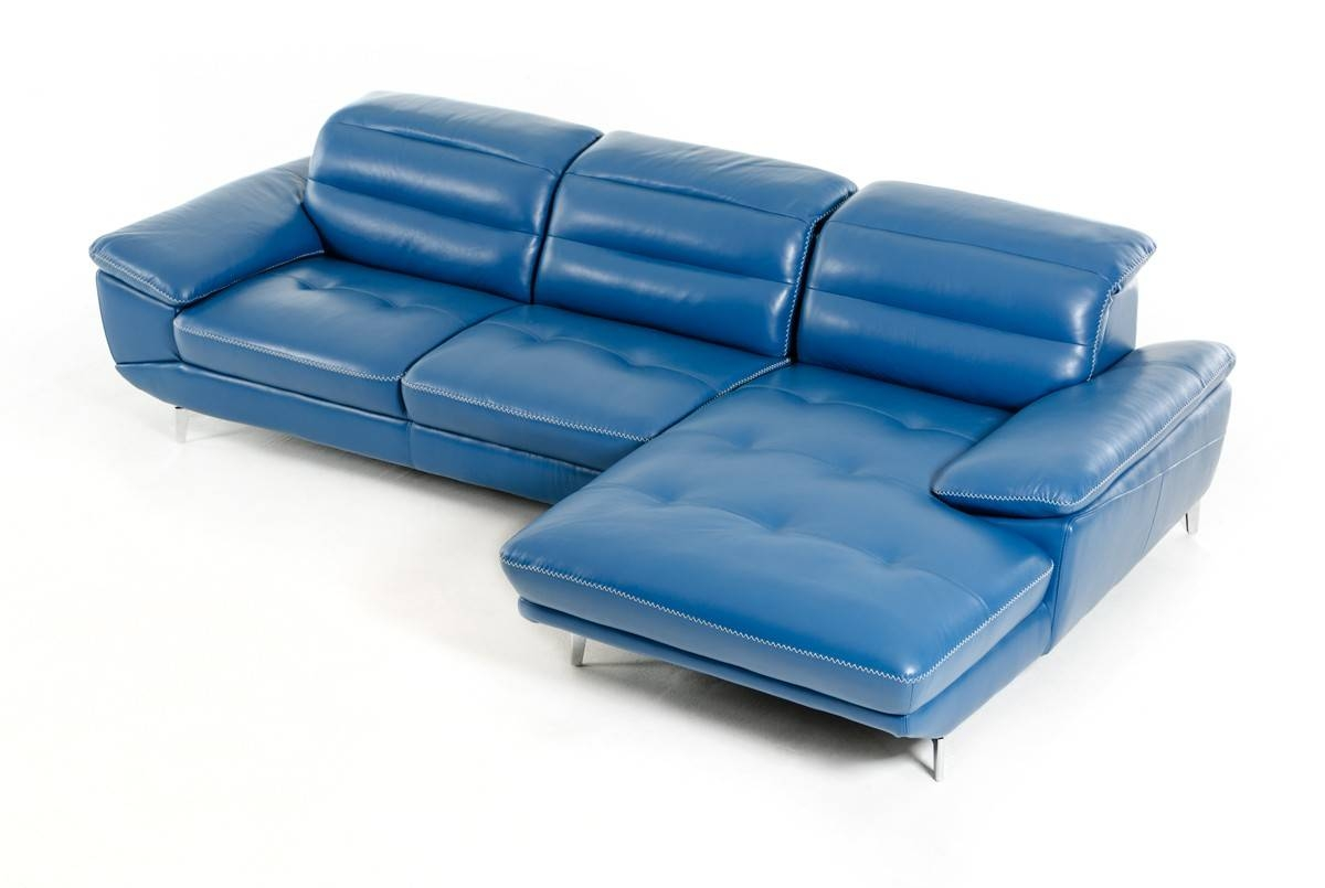 Divani Casa Hobart Modern Blue Leather Sectional Sofa pertaining to Blue Leather Sectional Sofas (Image 6 of 15)