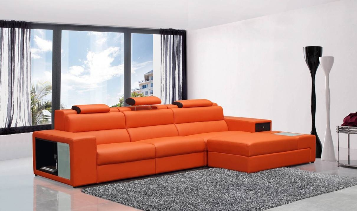 Divani Casa Polaris Mini Contemporary Leather Sectional Sofa In intended for Orange Sectional Sofas (Image 7 of 15)