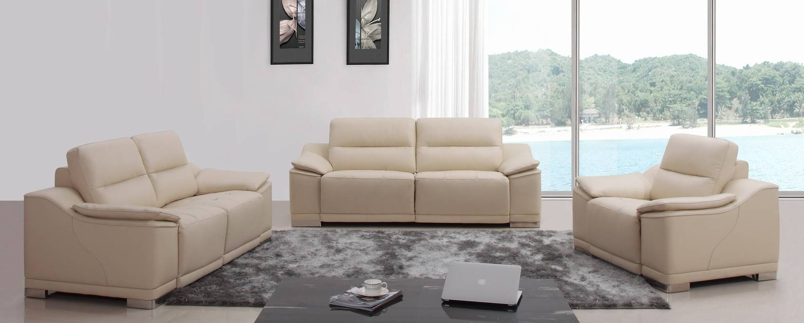 Divani Casa Serenella Modern Beige Leather Sofa Set throughout Beige Leather Couches (Image 3 of 15)