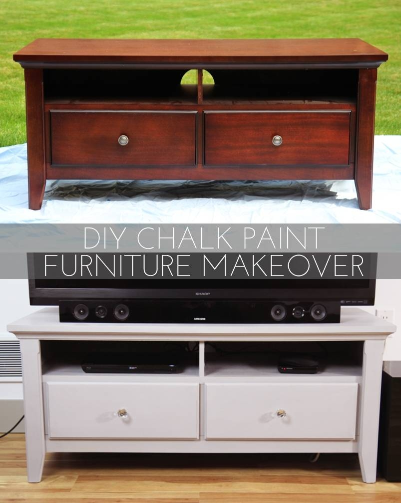 Diy Chalk Paint Furniture Makeover | Allison Anderson throughout White Painted Tv Cabinets (Image 6 of 15)