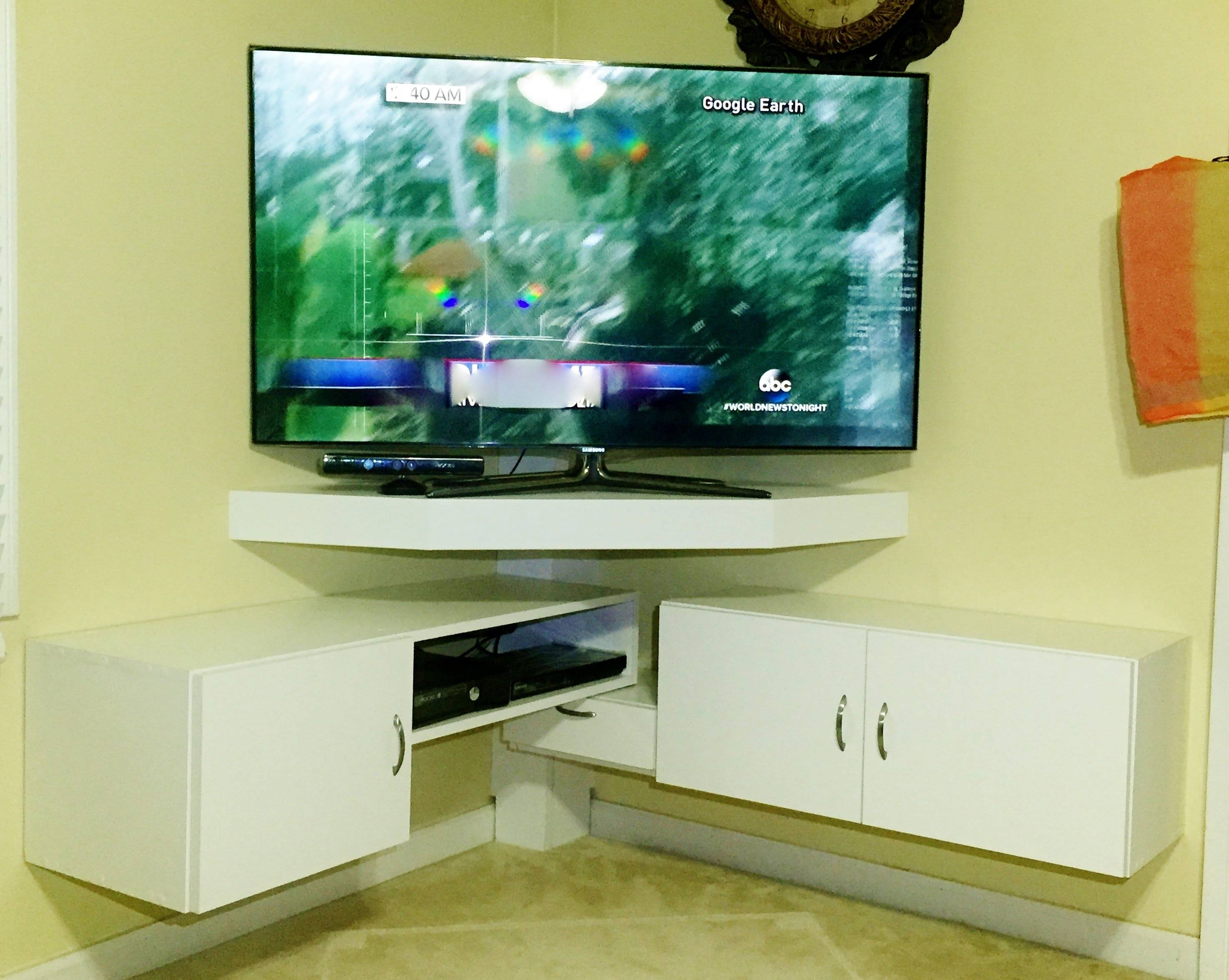 Diy - Corner Tv Stand - Youtube inside Tv Stands For Corners (Image 5 of 15)