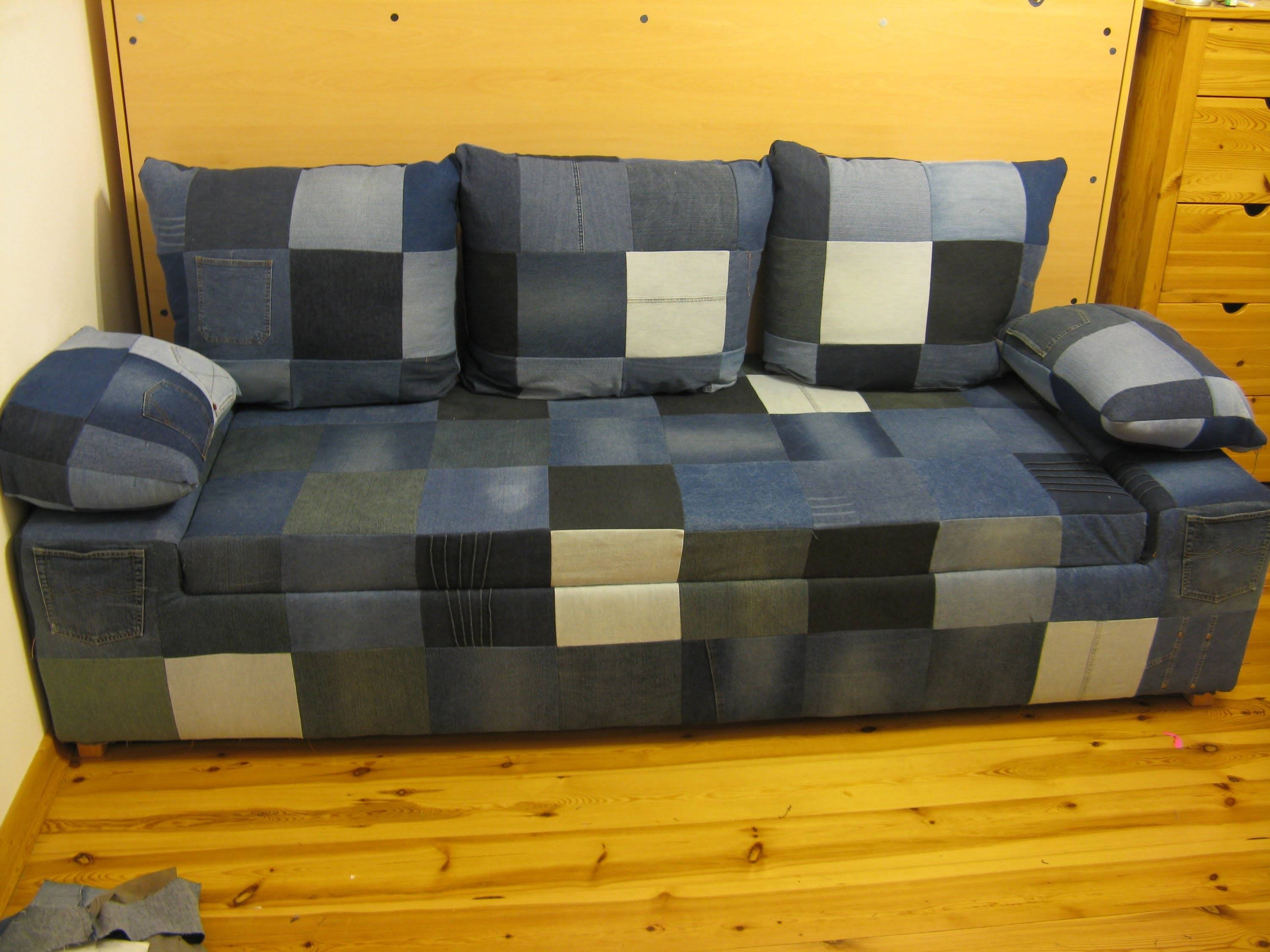 Diy Jeans Sofa. Build A Simple, Comfortable Jeans Sofa With Simple pertaining to Blue Jean Sofas (Image 9 of 15)