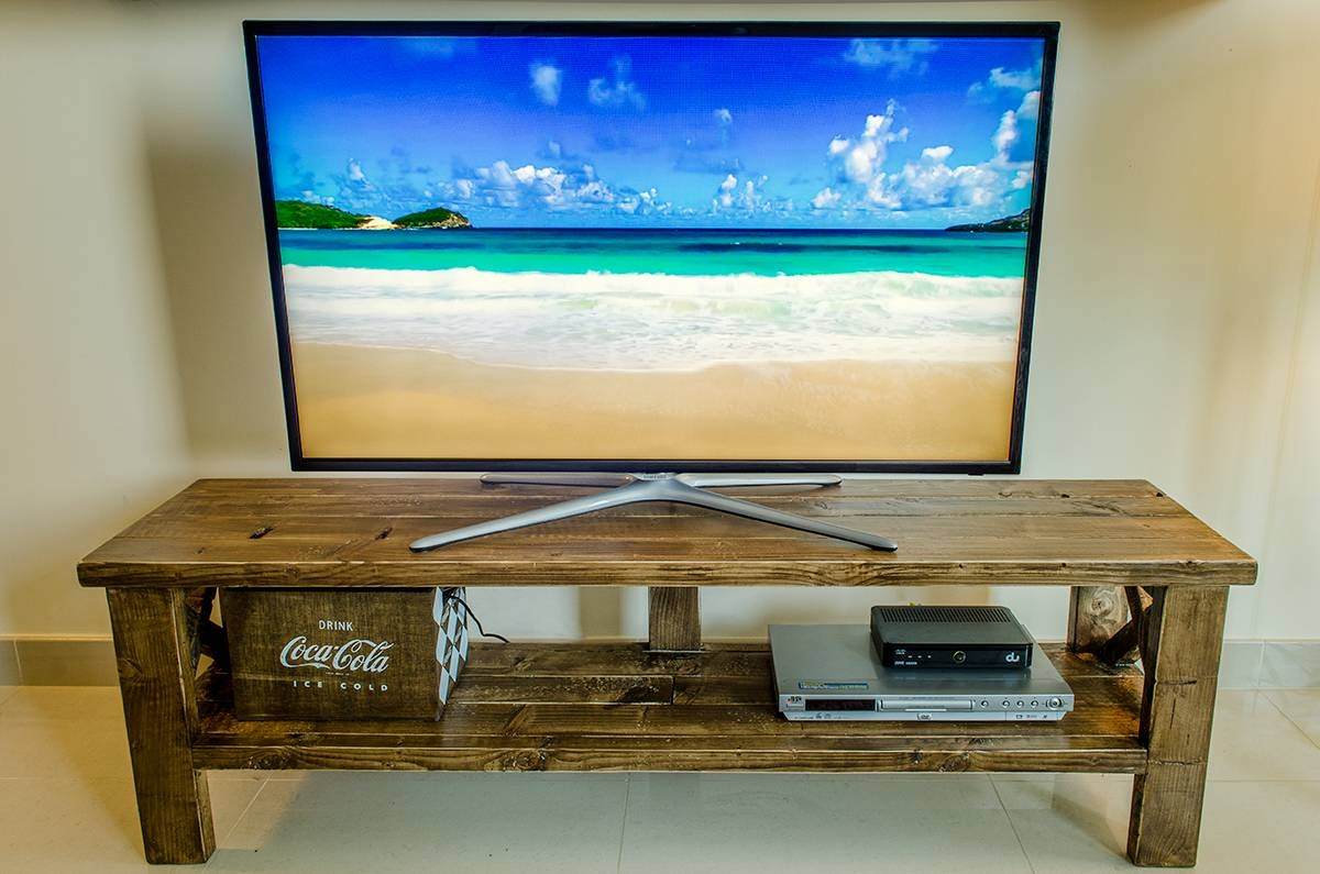 Diy Tv Stand From Pine 2X4 Planks with regard to Bench Tv Stands (Image 7 of 15)