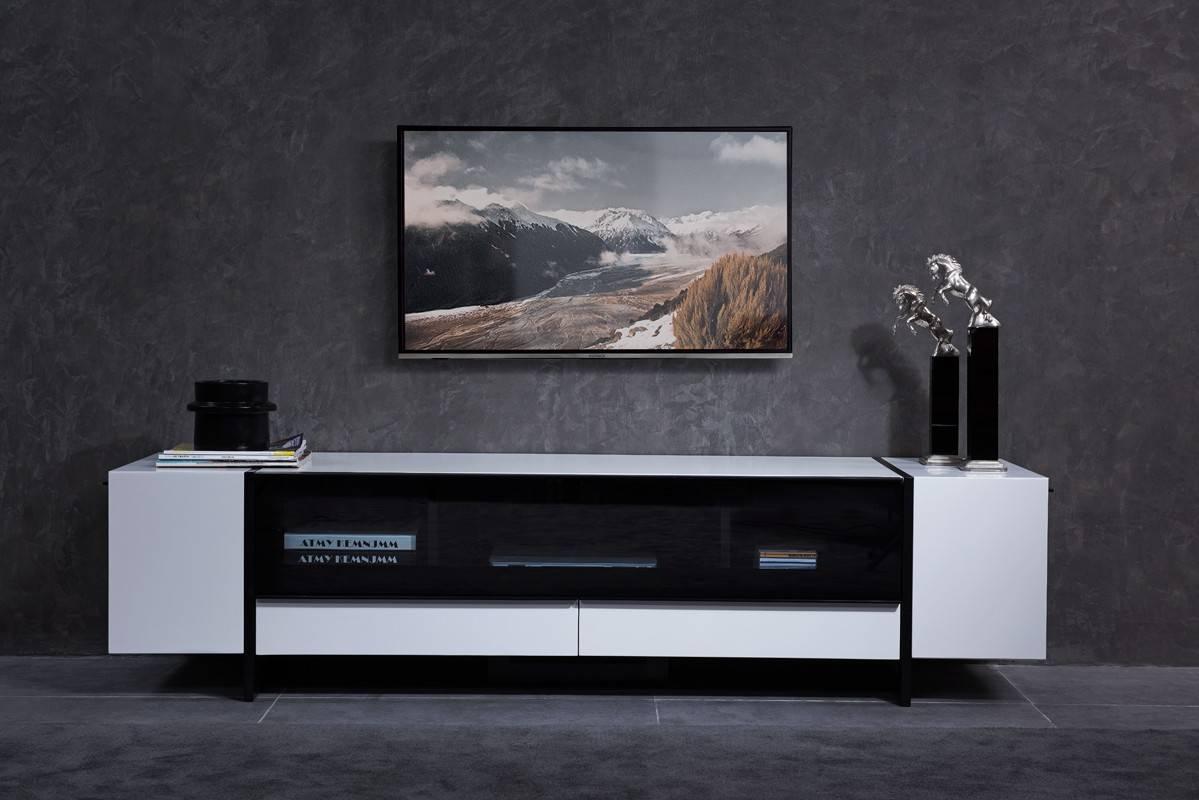 Domus Lorena Modern White & Gun Metal Black Tv Stand in Modern White Tv Stands (Image 2 of 15)