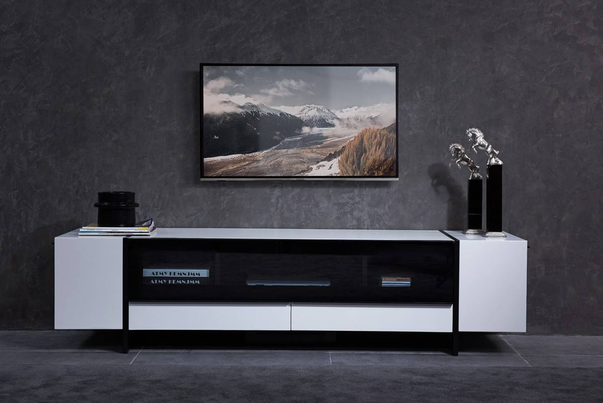 Domus Lorena Modern White & Gun Metal Black Tv Stand with regard to Modern White Tv Stands (Image 2 of 15)