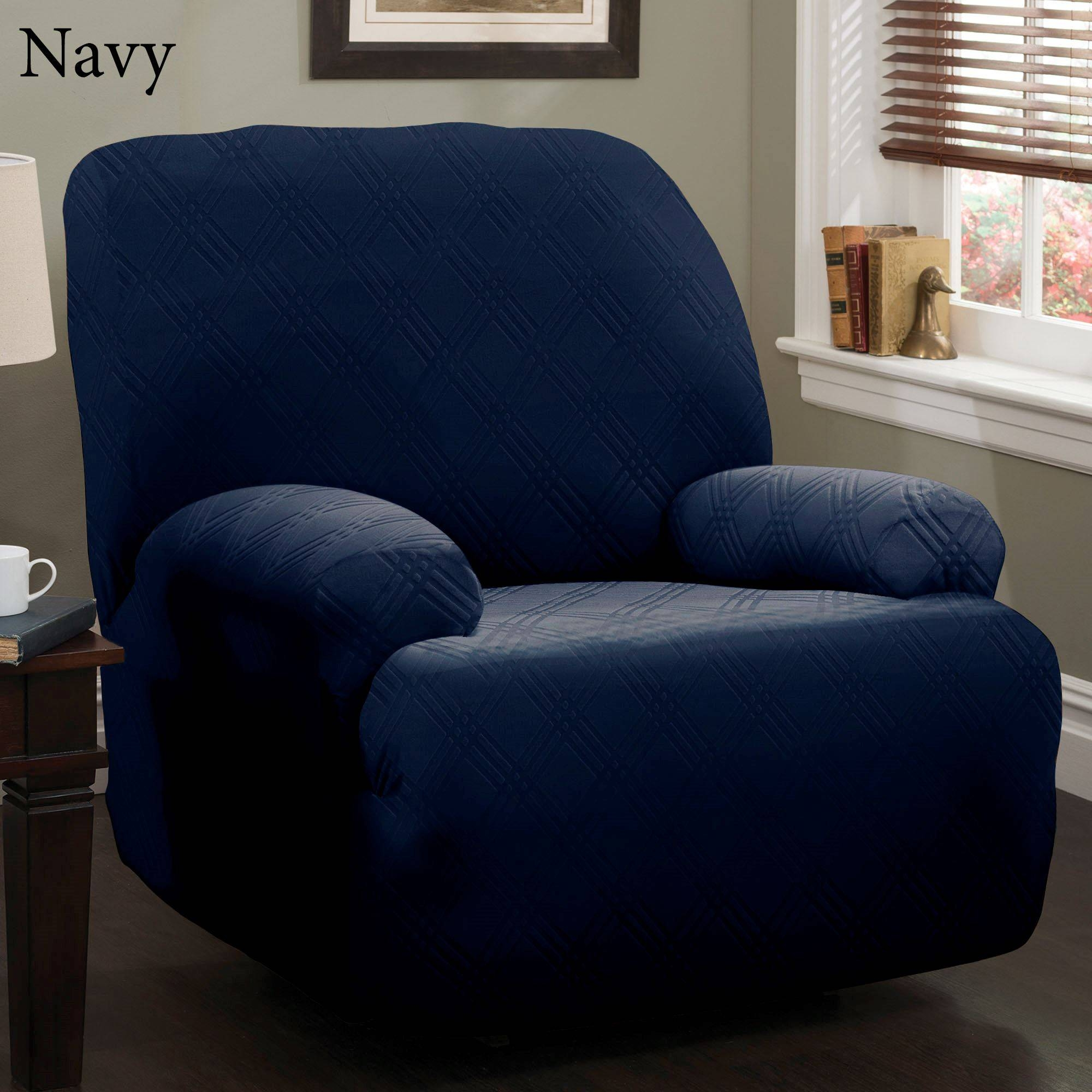 Double Diamond Stretch Jumbo Recliner Slipcovers with Navy Blue Slipcovers (Image 2 of 15)