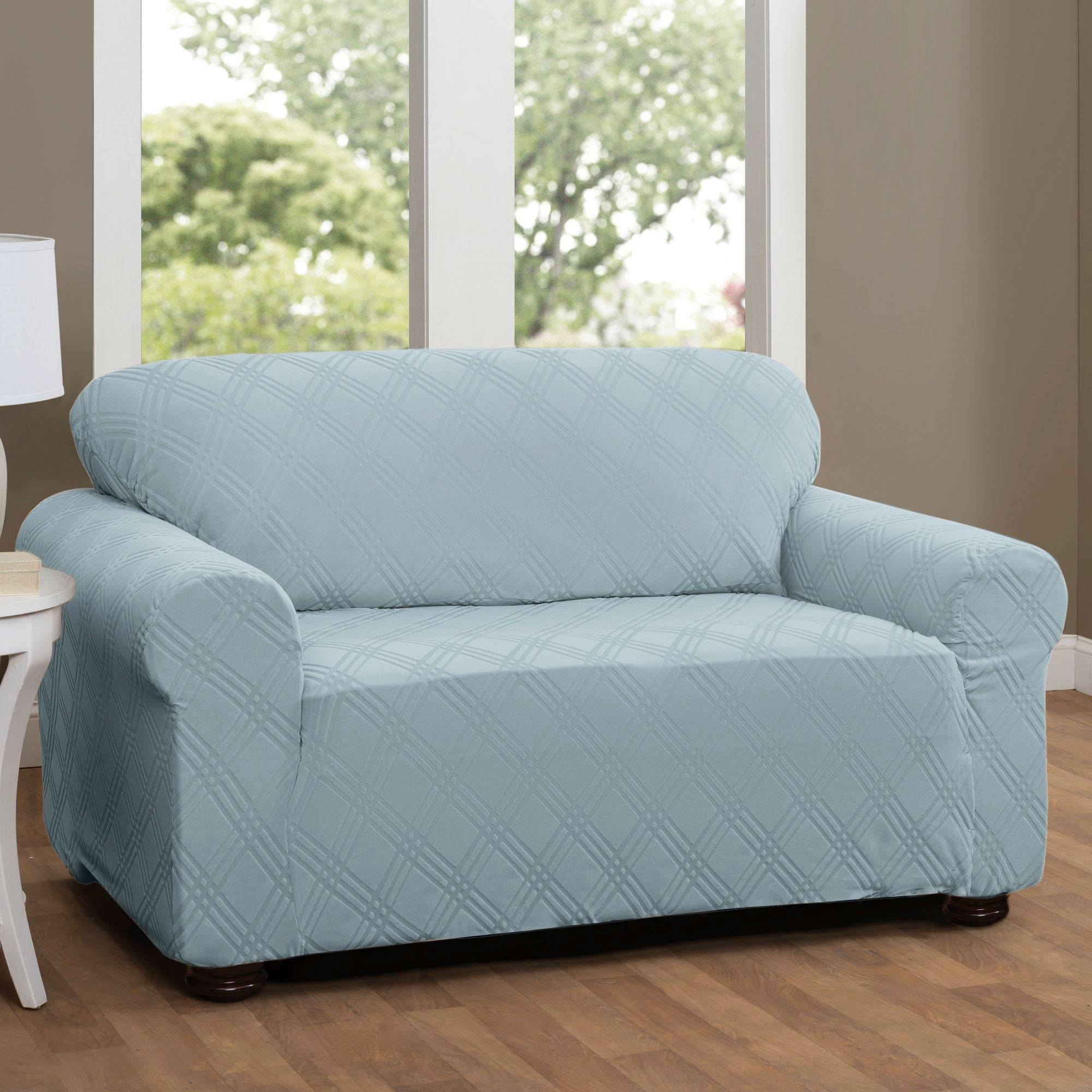 Double Diamond Stretch Loveseat Slipcovers in Blue Slipcovers (Image 4 of 15)