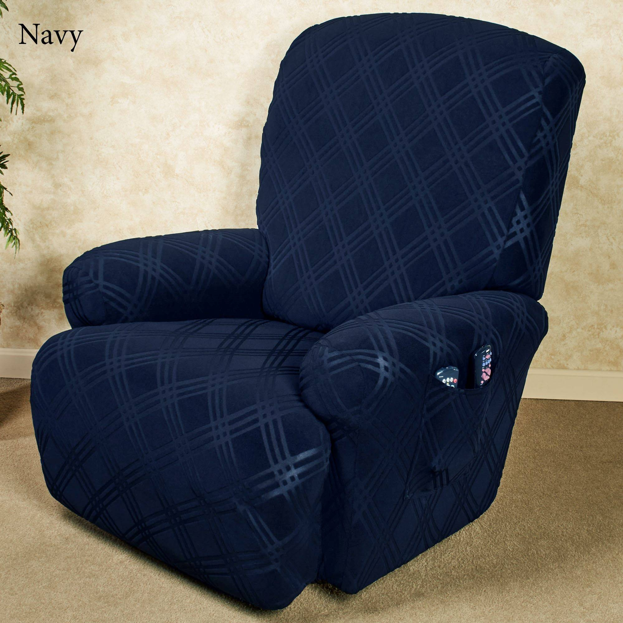 Double Diamond Stretch Recliner Slipcovers regarding Navy Blue Slipcovers (Image 4 of 15)