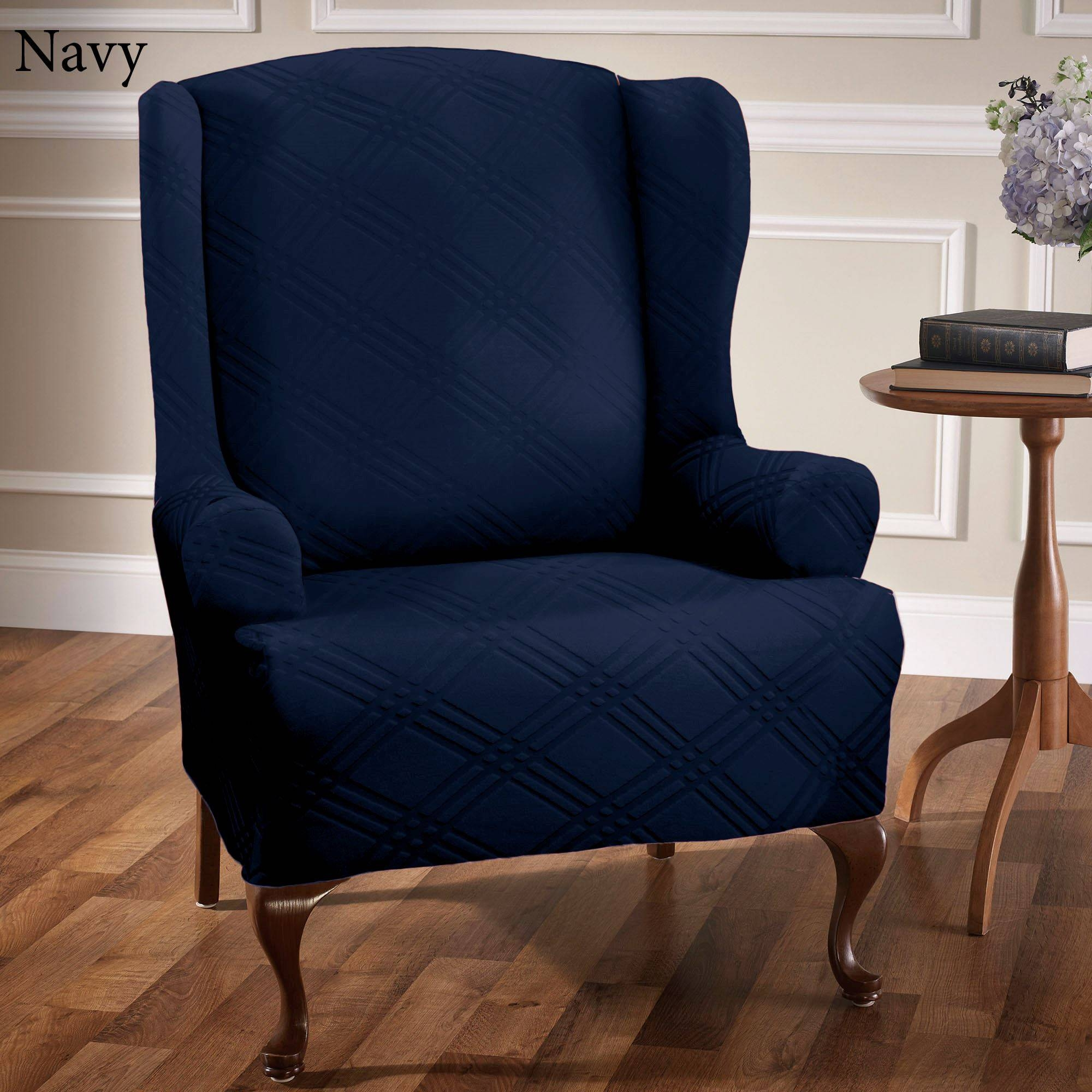 Double Diamond Stretch Wing Chair Slipcovers throughout Navy Blue Slipcovers (Image 5 of 15)